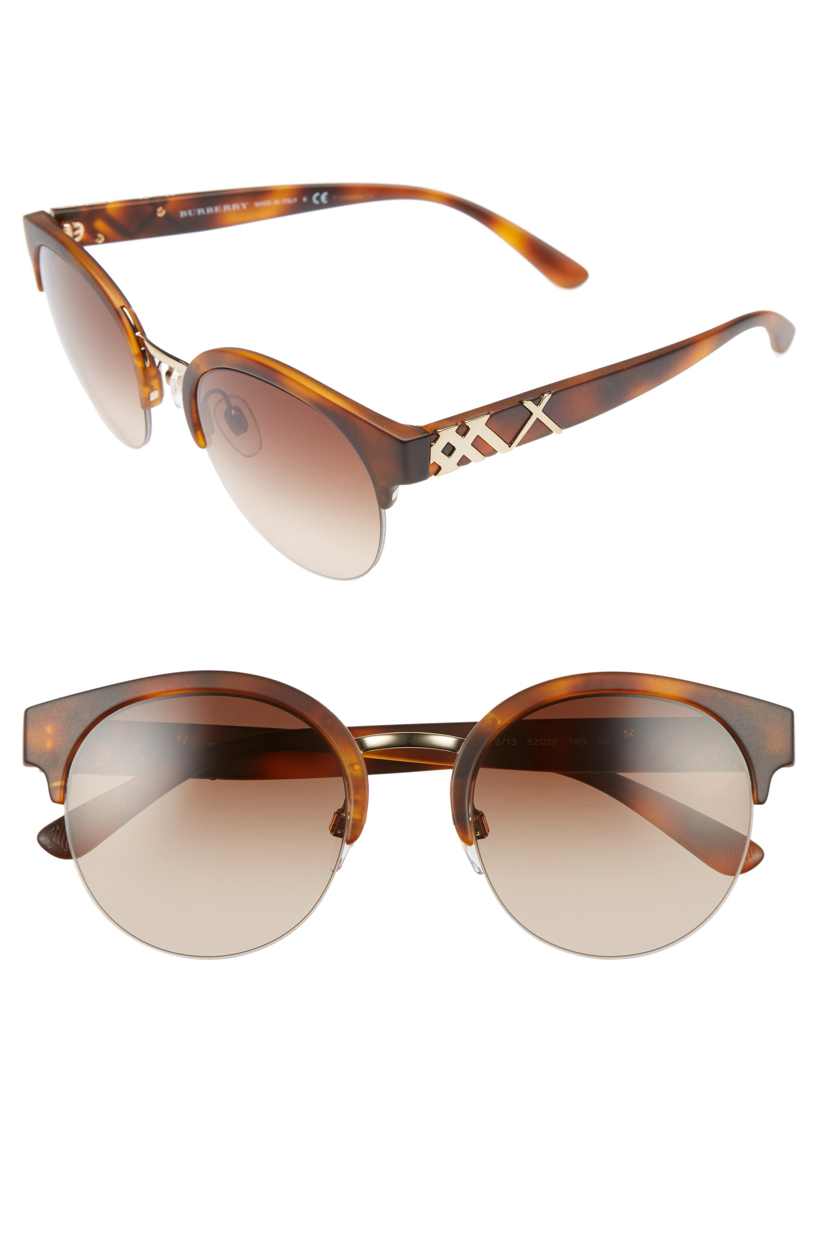 Main Image - Burberry 52mm Gradient Semi Rimless Sunglasses