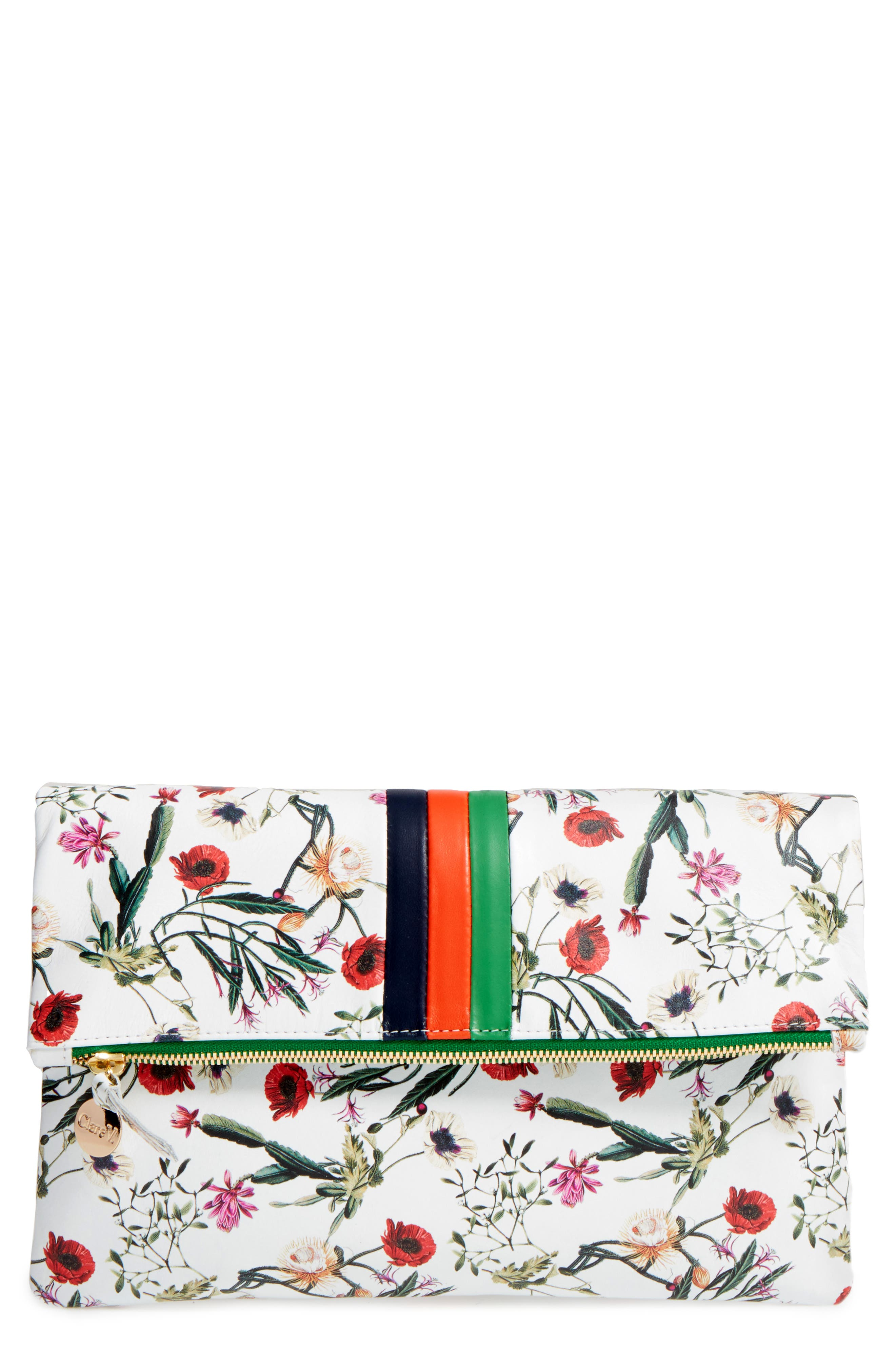 Clare V. Floral Leather Foldover Clutch