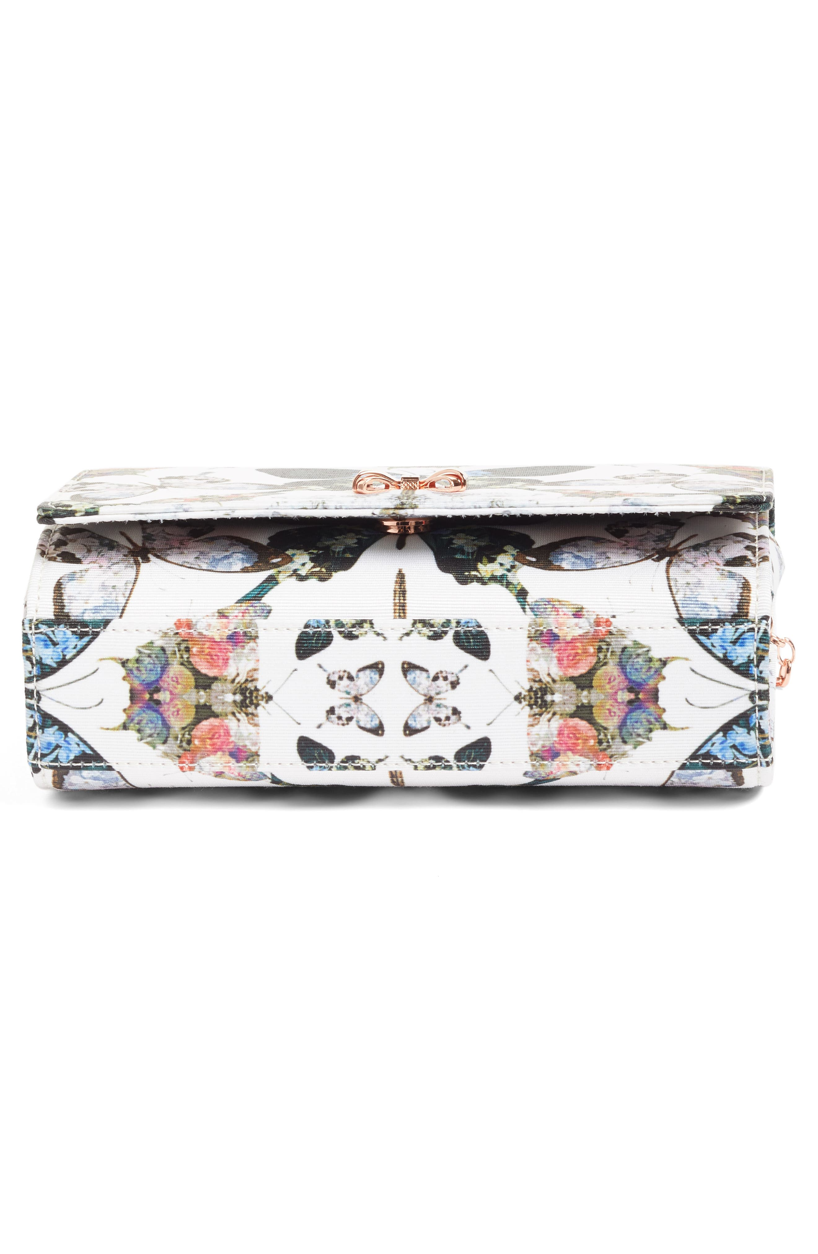 Strisa Butterfly Print Clutch,                             Alternate thumbnail 6, color,                             Cream