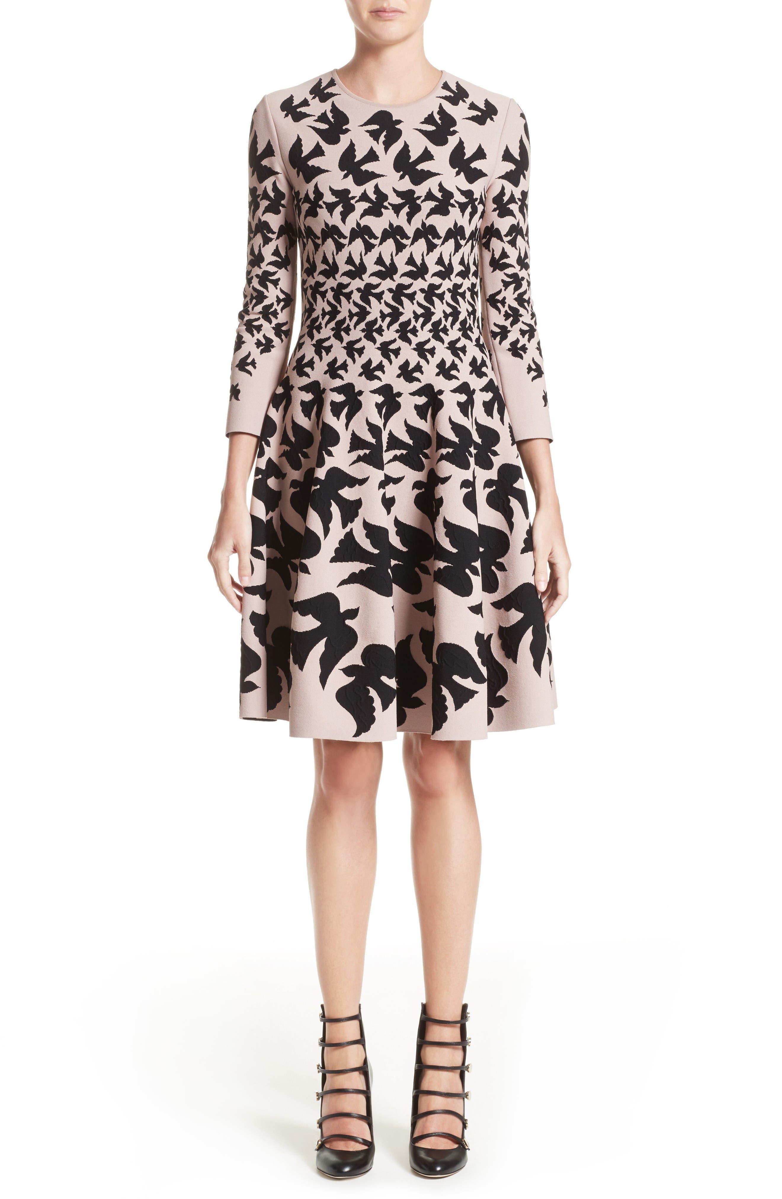 Alternate Image 1 Selected - Alexander McQueen Swallow Jacquard Dress