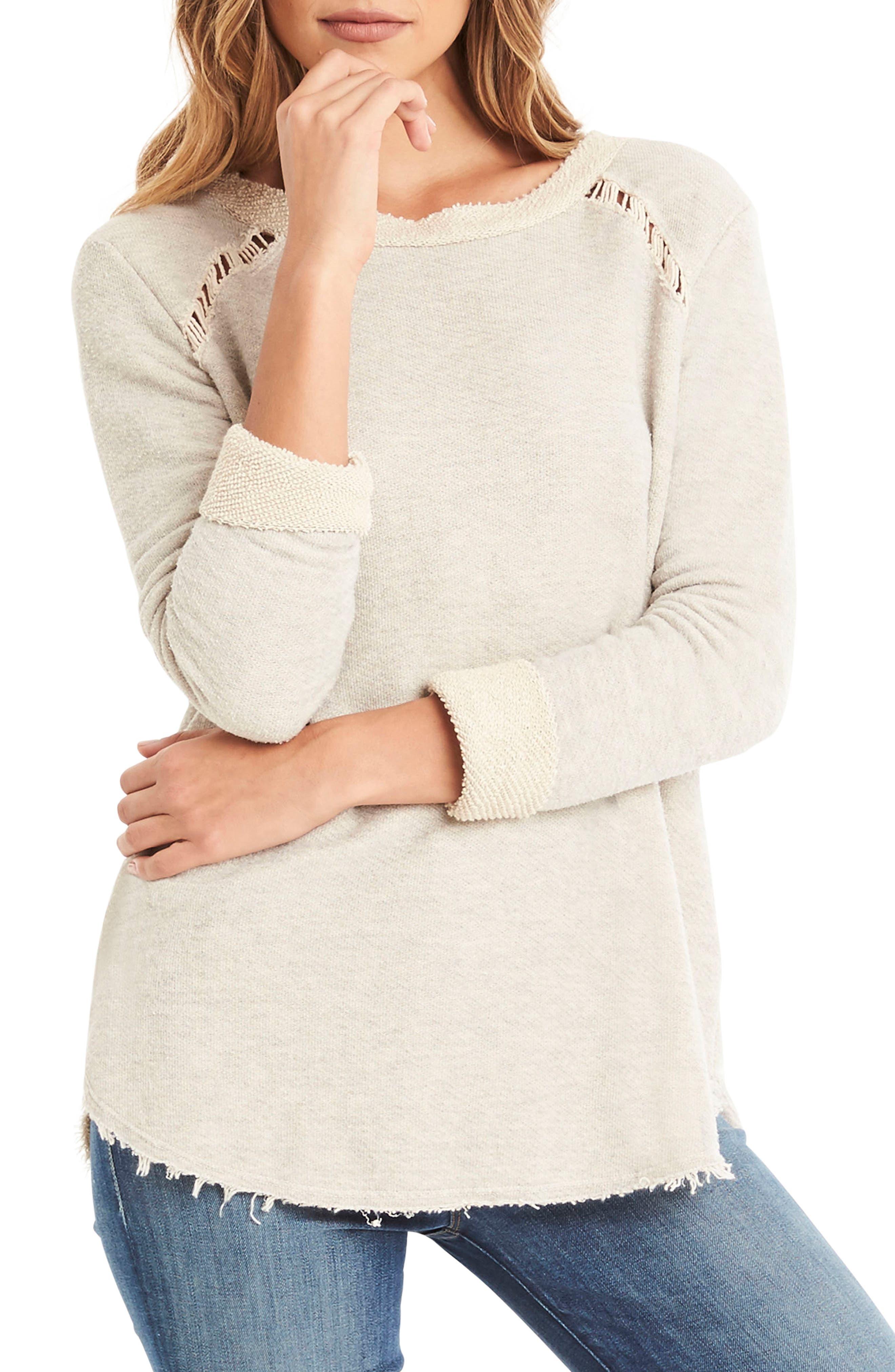 Distressed Sweatshirt,                         Main,                         color, Chalk
