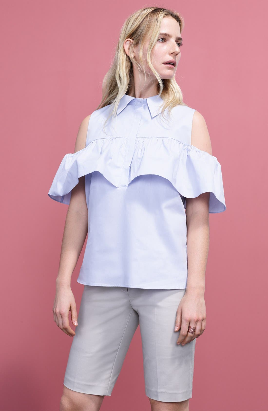 Alternate Image 2  - Pleione Ruffled Cold Shoulder Top (Regular & Petite)
