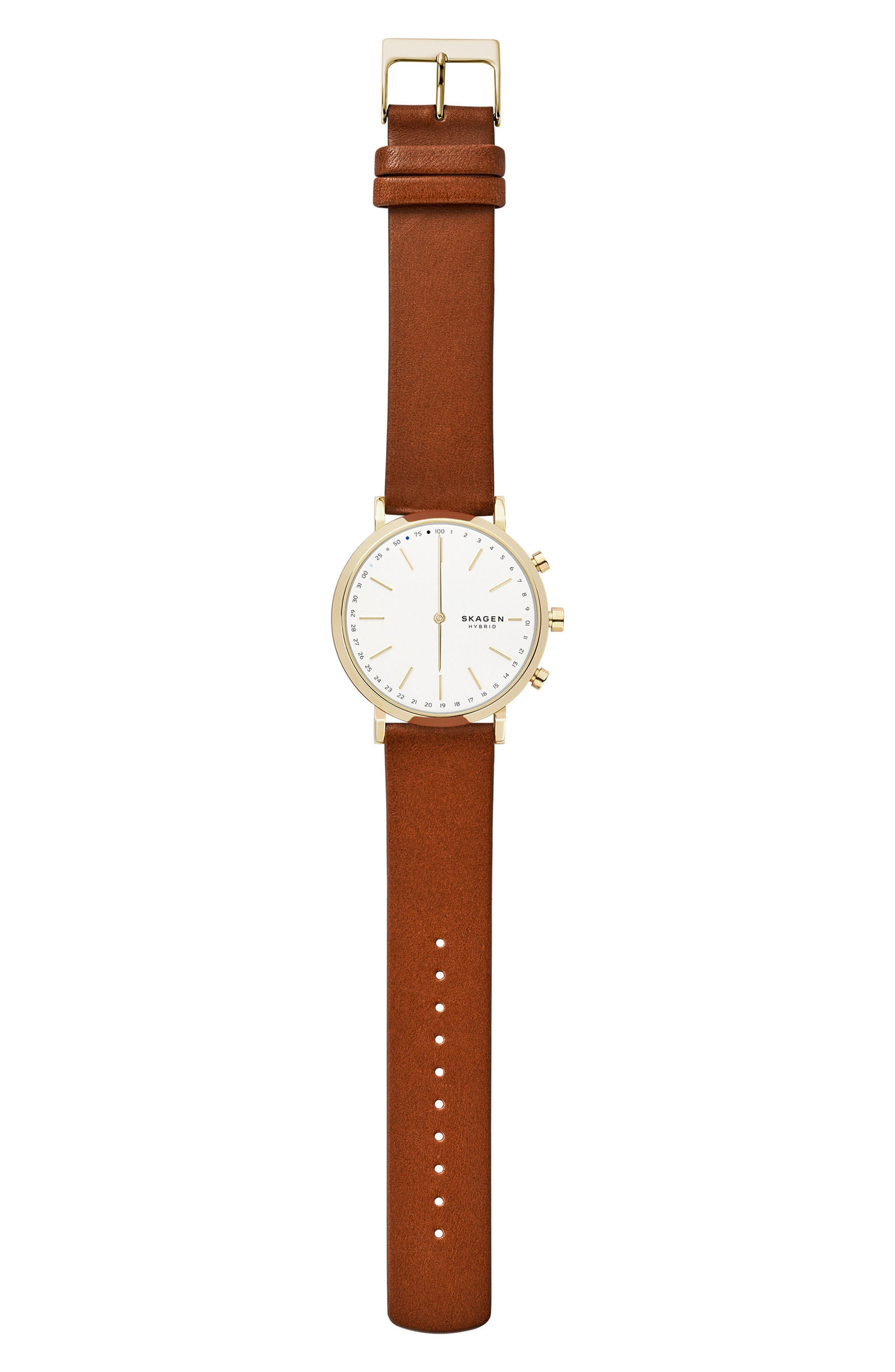 Hald Hybrid Leather Strap Smart Watch, 40mm,                             Alternate thumbnail 2, color,                             Brown/ White/ Gold