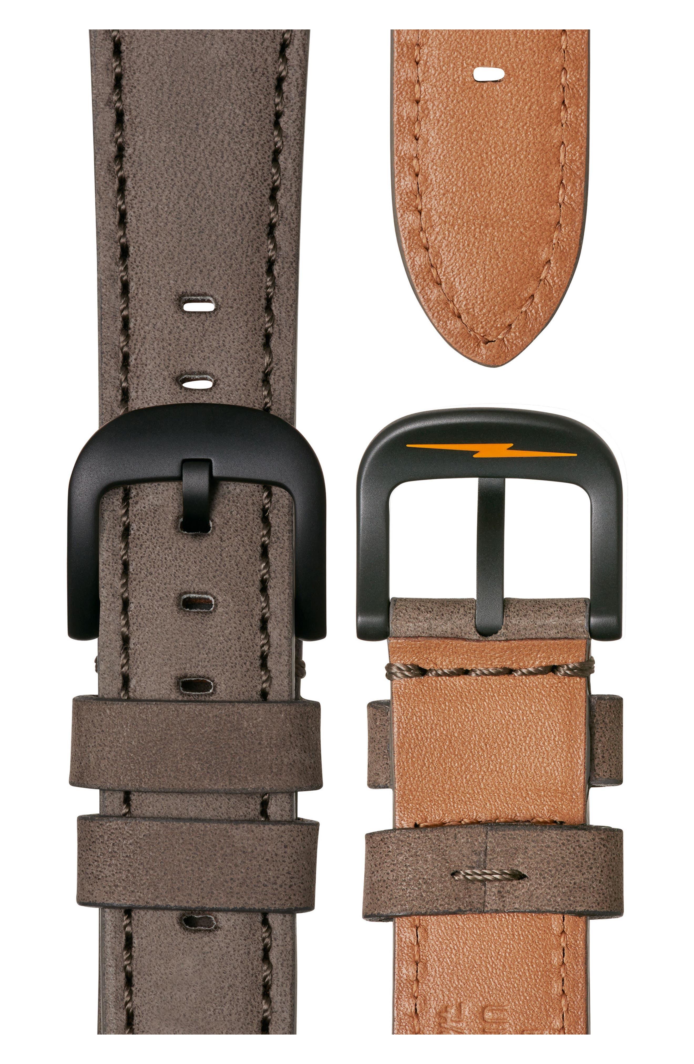 Bolt Leather Strap Watch, 42mm,                             Alternate thumbnail 4, color,                             Gray/ Black Sunray/ Black