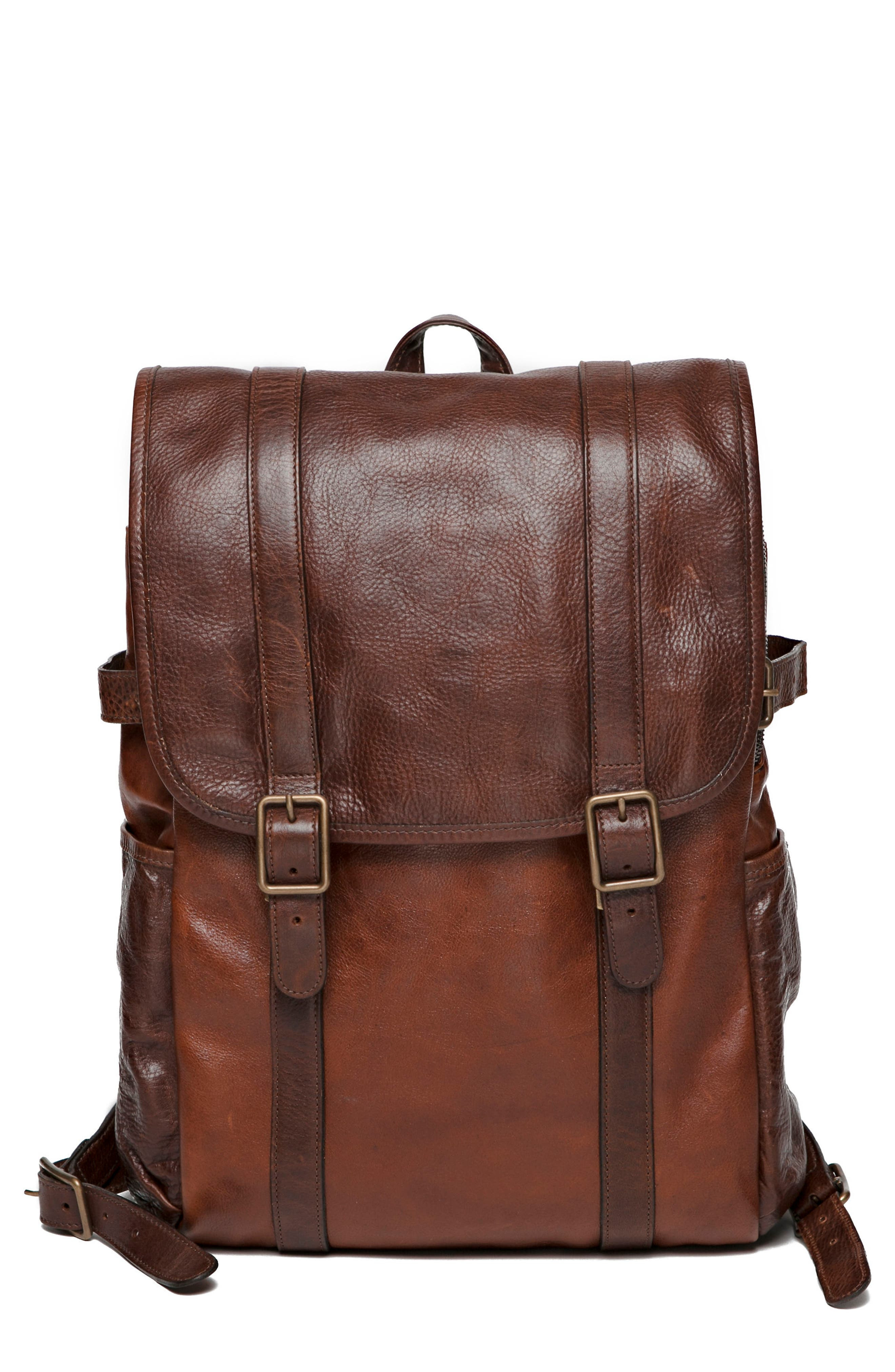 Crews Leather Backpack,                             Main thumbnail 1, color,                             Titan Milled Honey