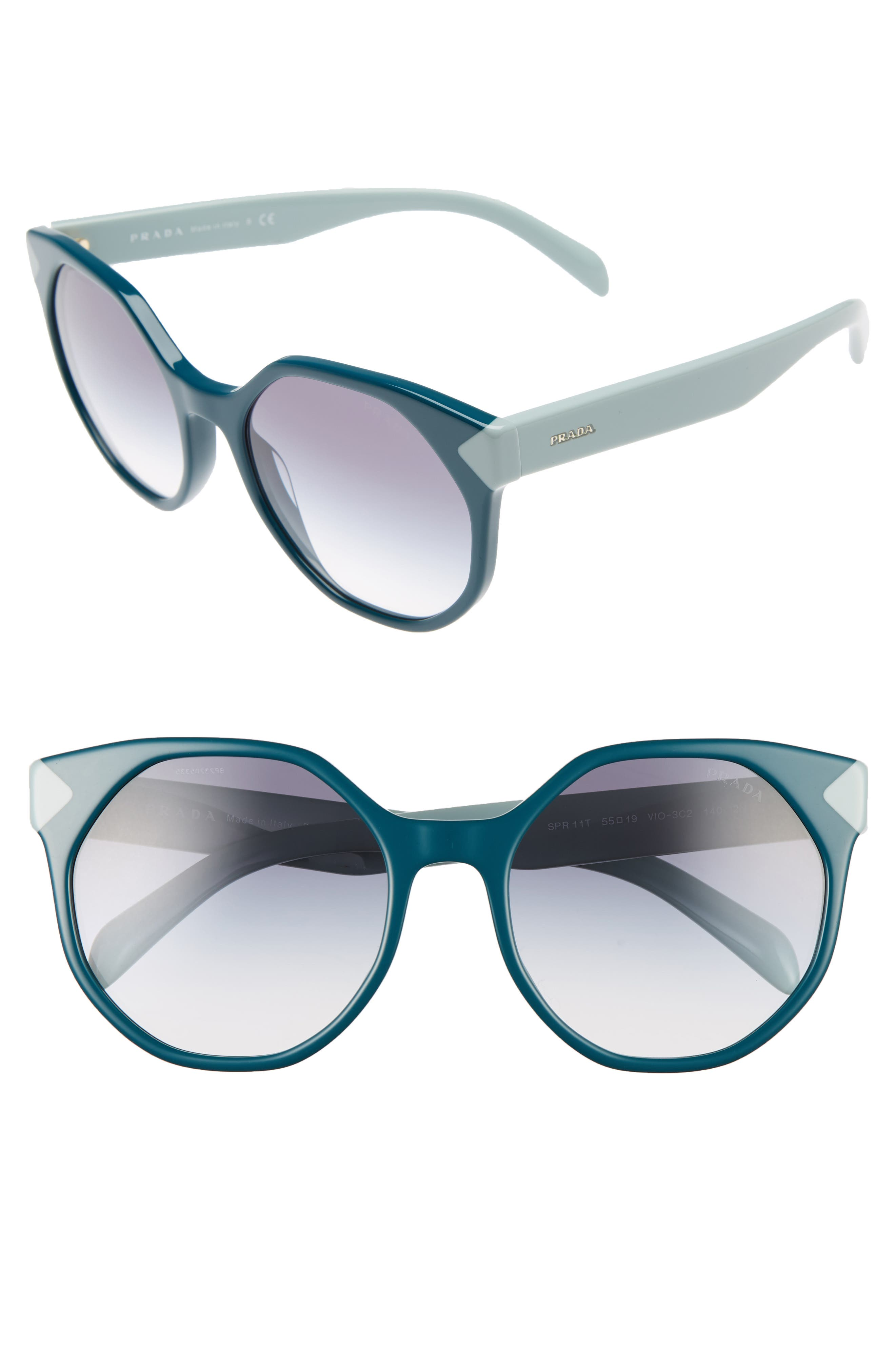 55mm Gradient Geometric Sunglasses,                         Main,                         color, Green