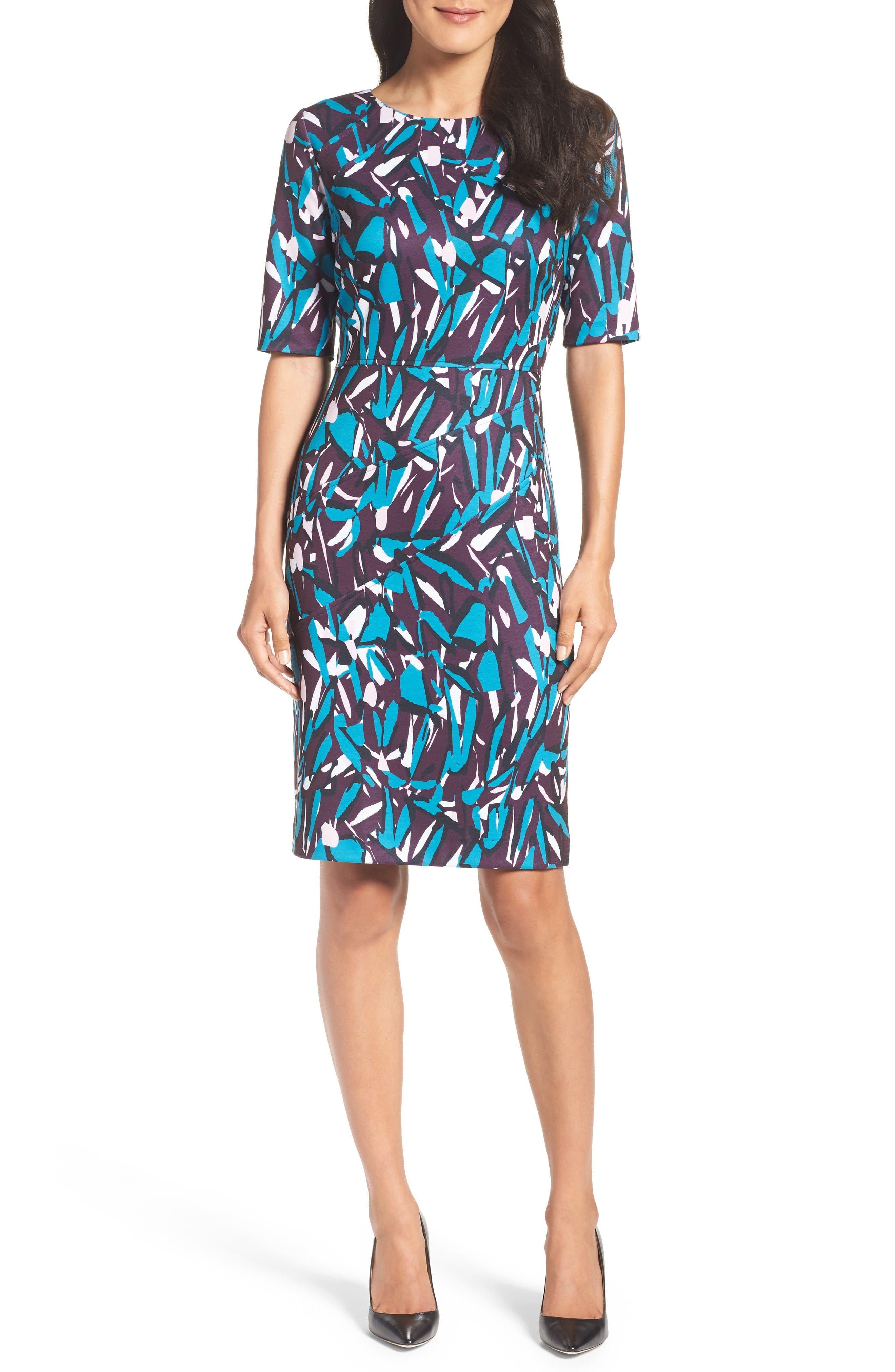 Ponte Pencil Dress,                             Alternate thumbnail 4, color,                             Plum Multi