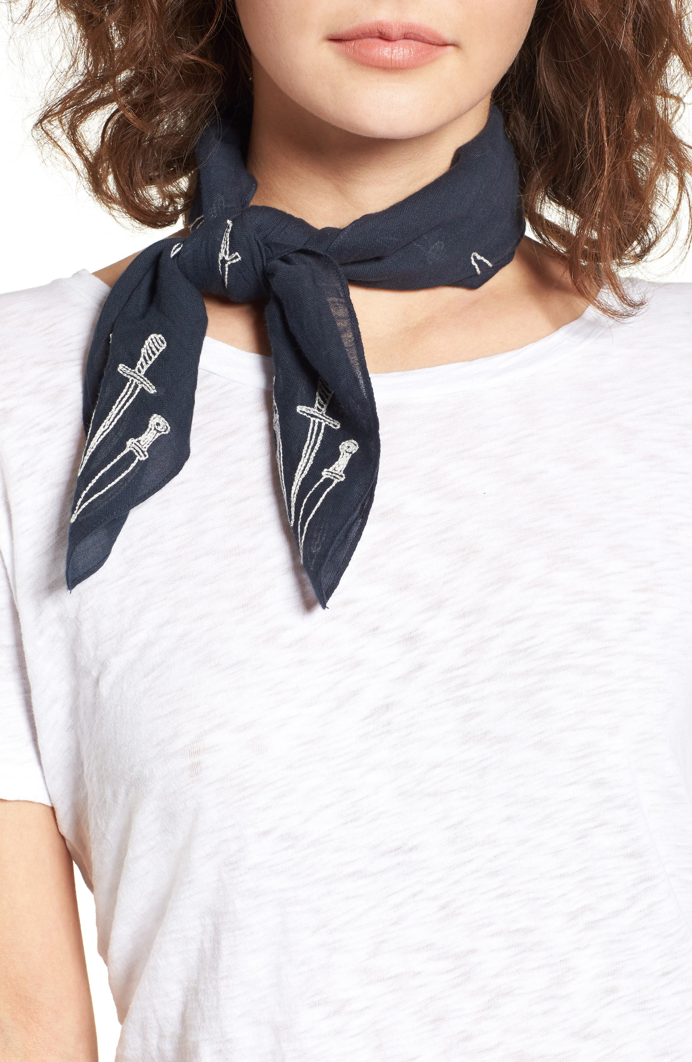 Embroidered Dagger Bandana,                         Main,                         color, Navy Multi