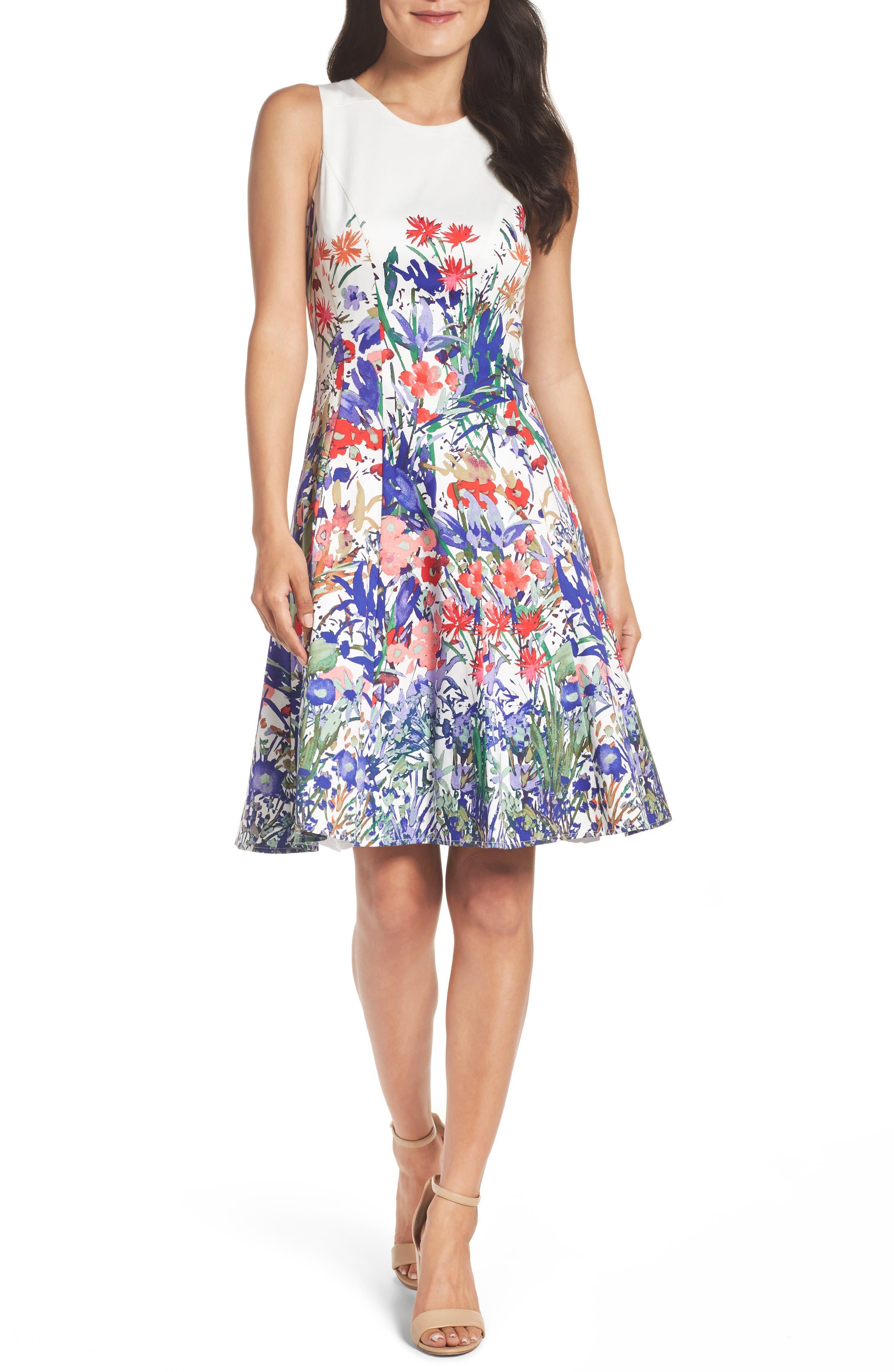 Cottage Garden Fit & Flare Dress,                             Main thumbnail 1, color,                             Soft White/ Coral/ Purple