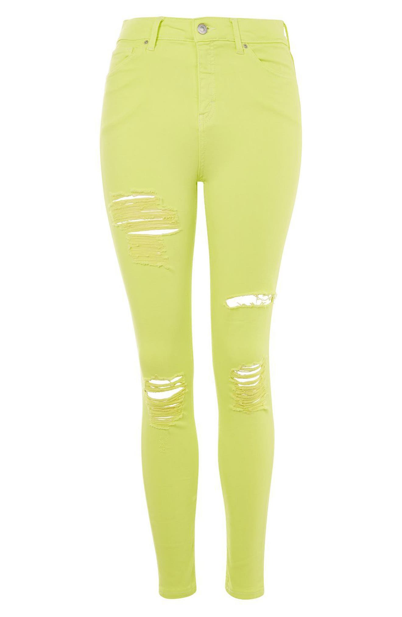 Alternate Image 4  - Topshop Jamie Ripped Skinny Jeans (Lime)