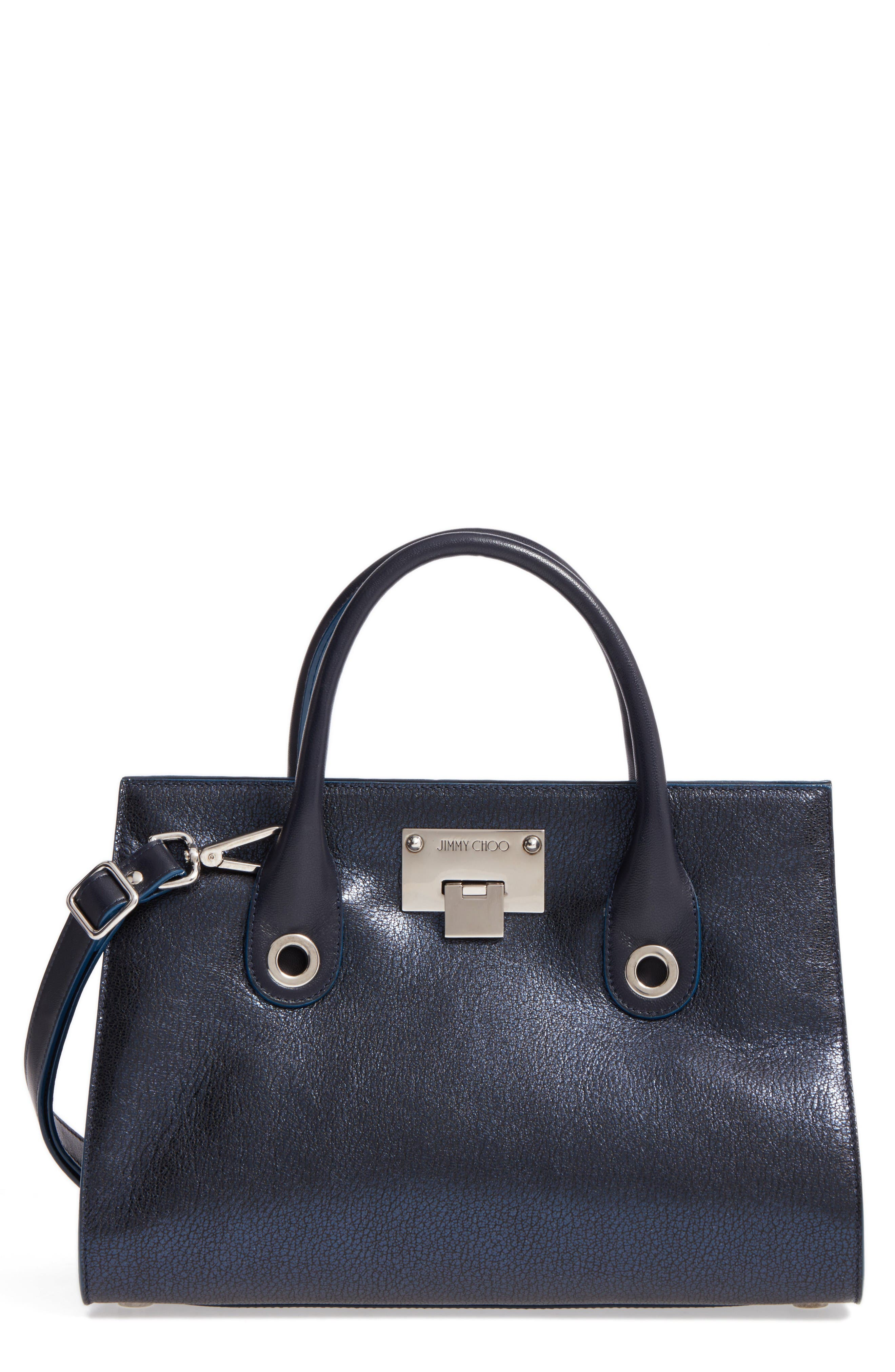 Medium Riley Metallic Leather Tote,                         Main,                         color, Navy