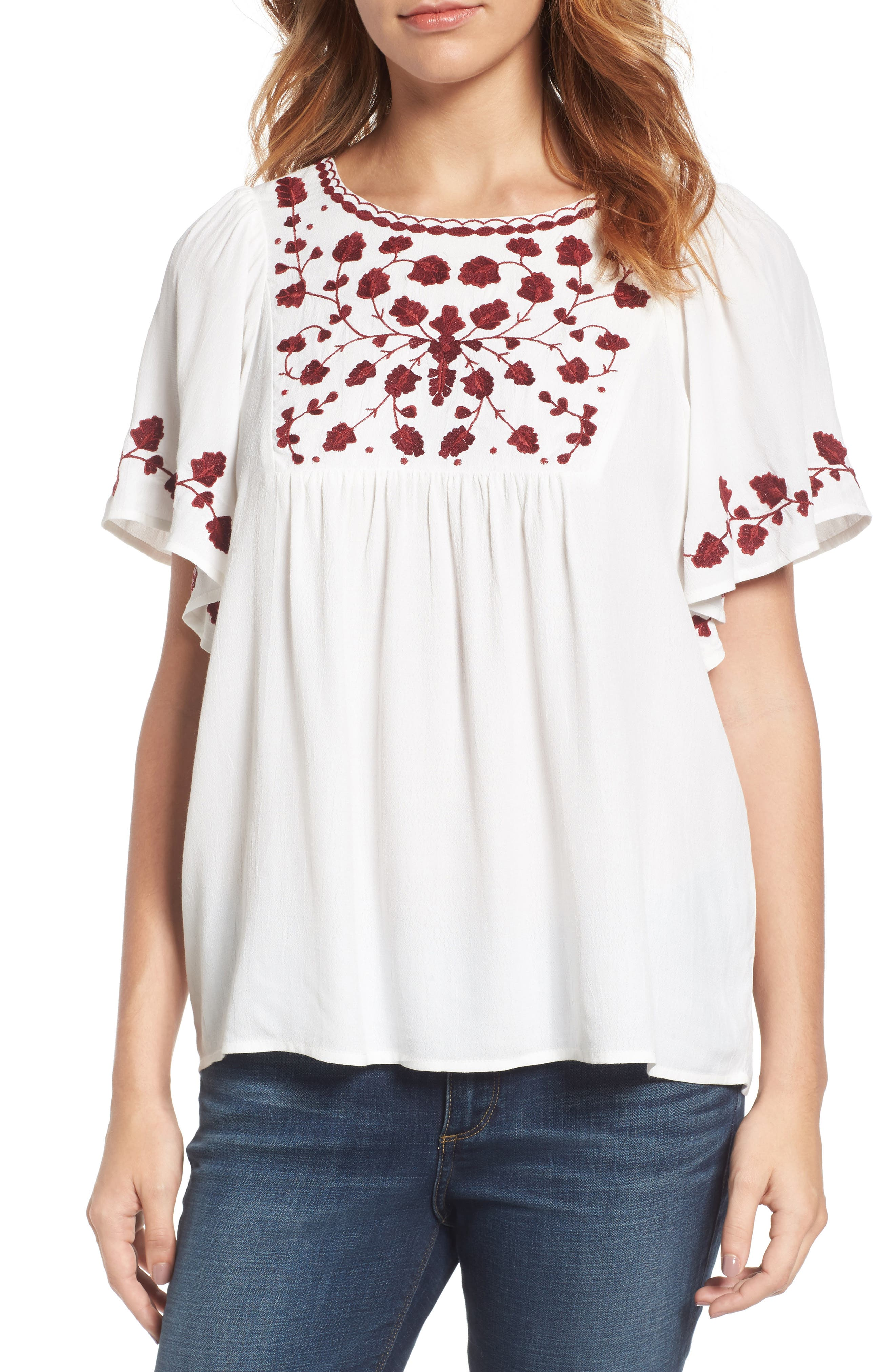 Alternate Image 1 Selected - Lucky Brand Hannah Embroidered Peasant Top