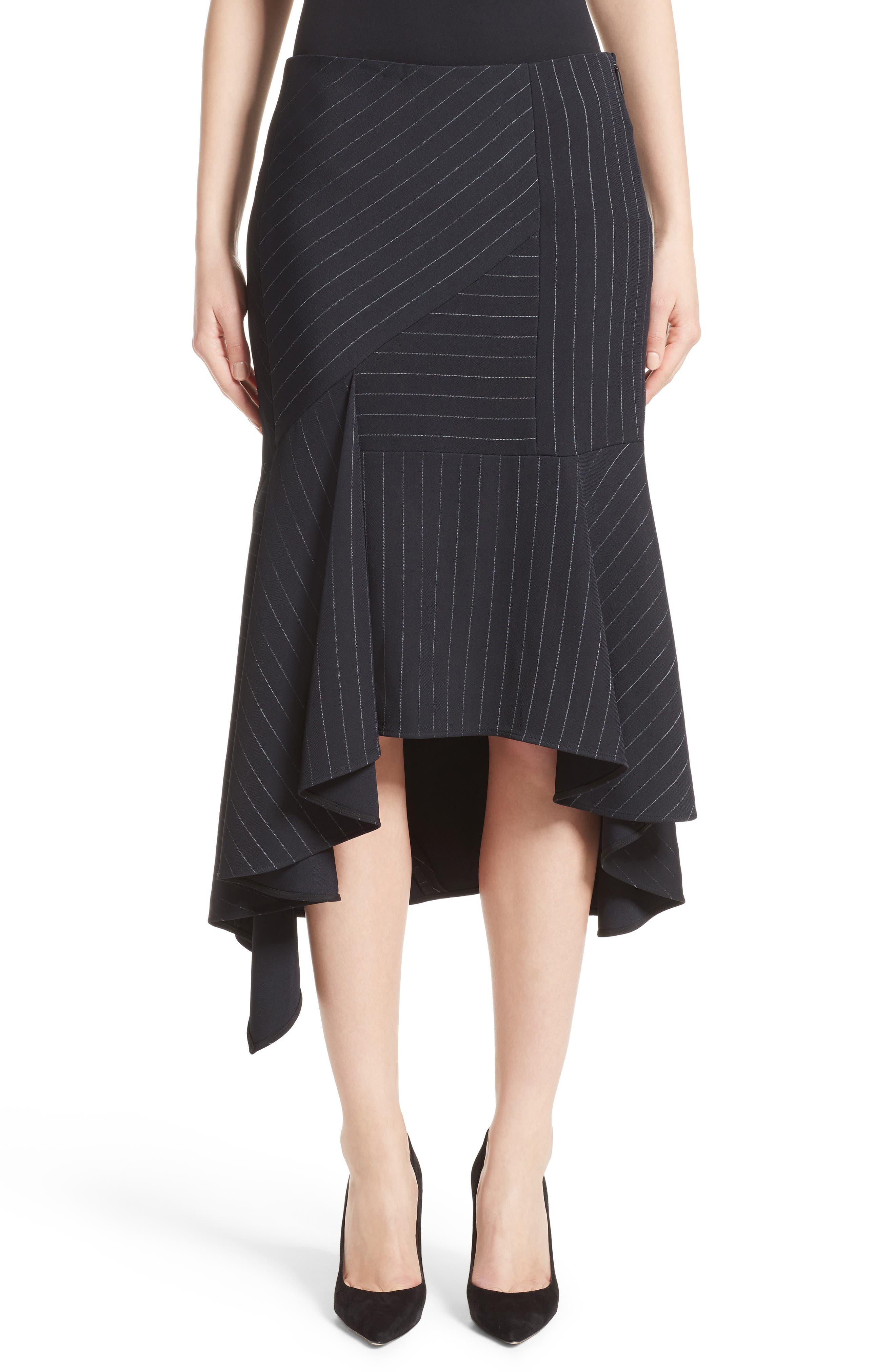 Pinstripe Stretch Asymmetrical Skirt,                             Main thumbnail 1, color,                             Black/ Chalk