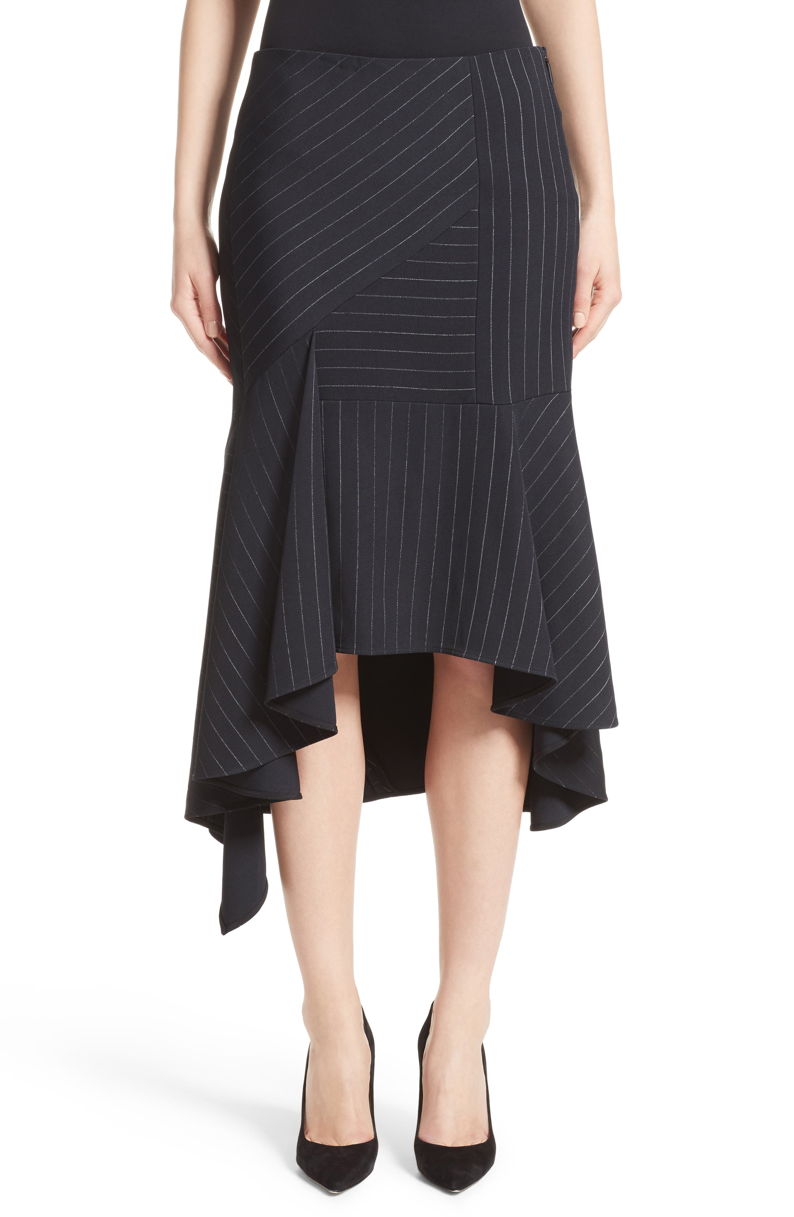 Main Image - Jason Wu Pinstripe Stretch Asymmetrical Skirt