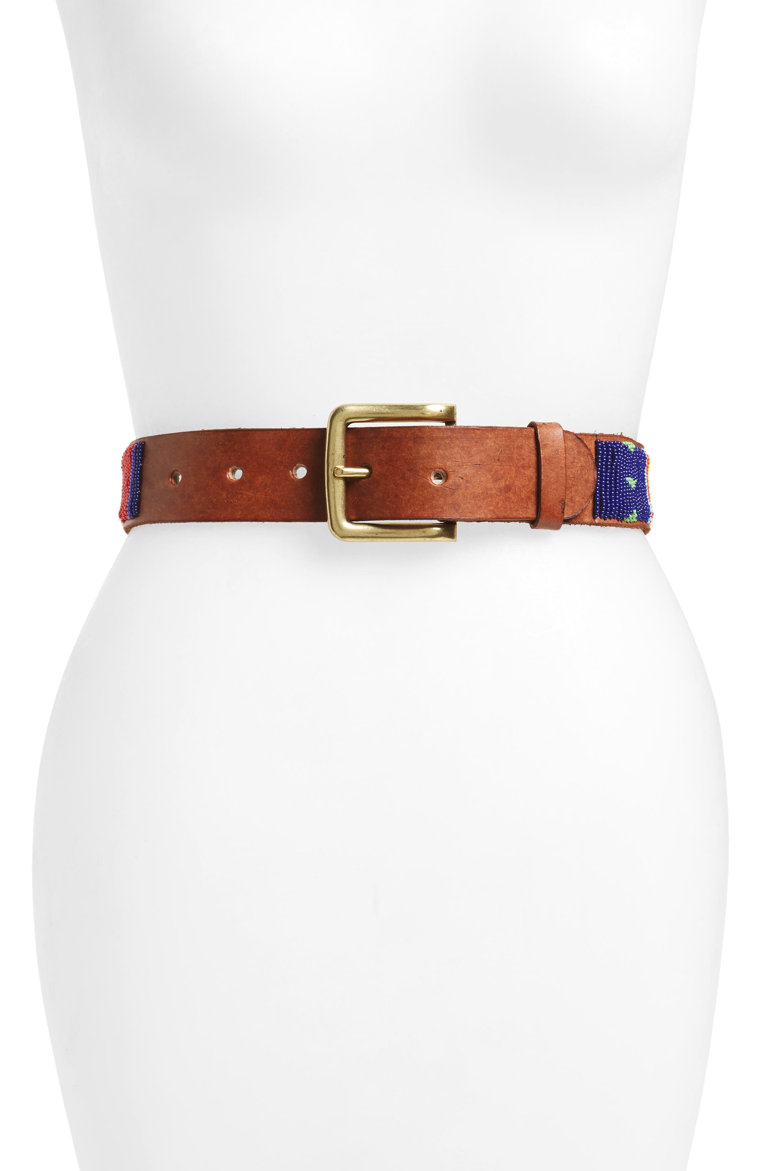 ASPIGA Kite Beaded Calfskin Leather Belt