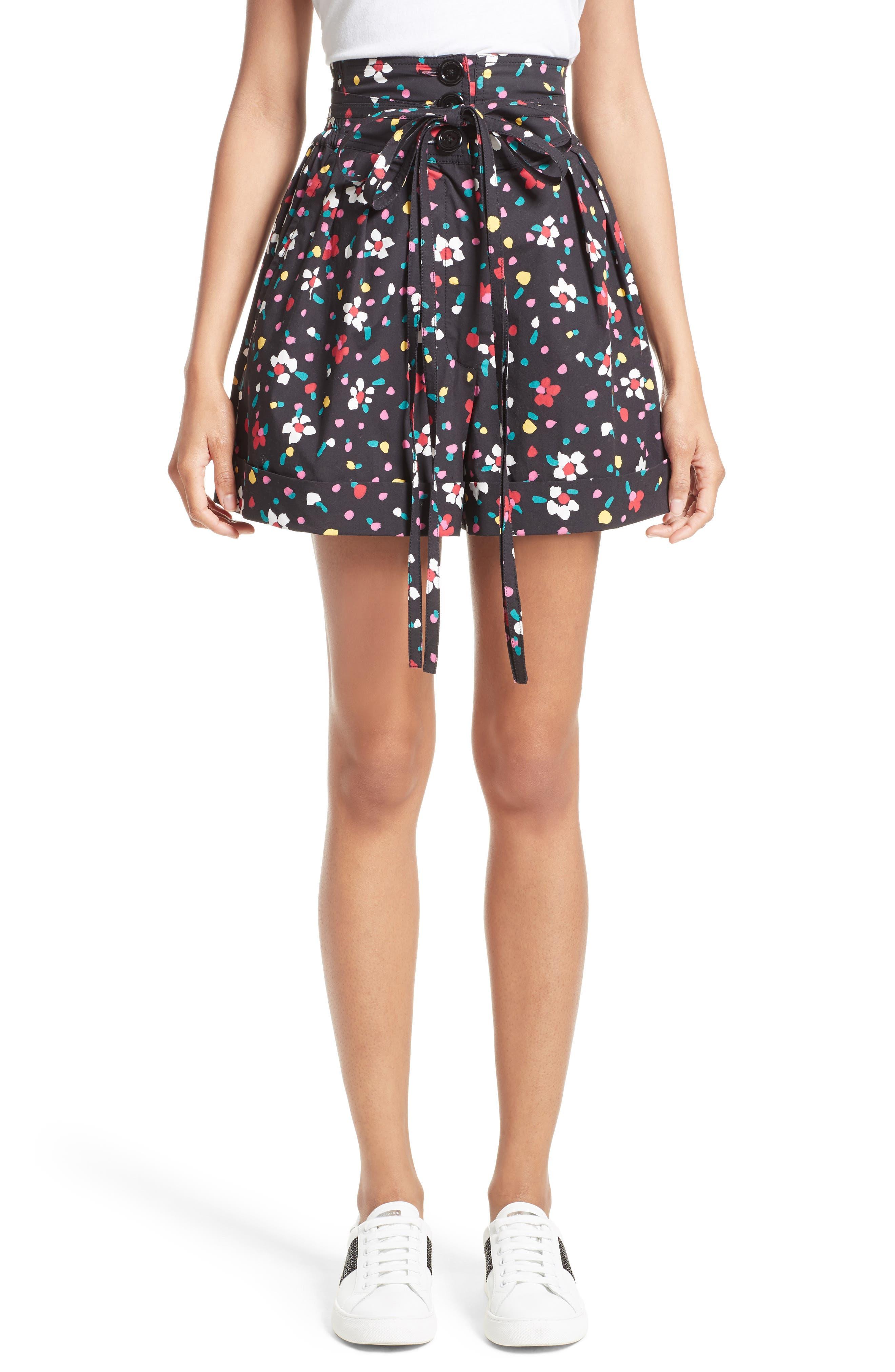 MARC JACOBS Floral Cotton High Waist Shorts