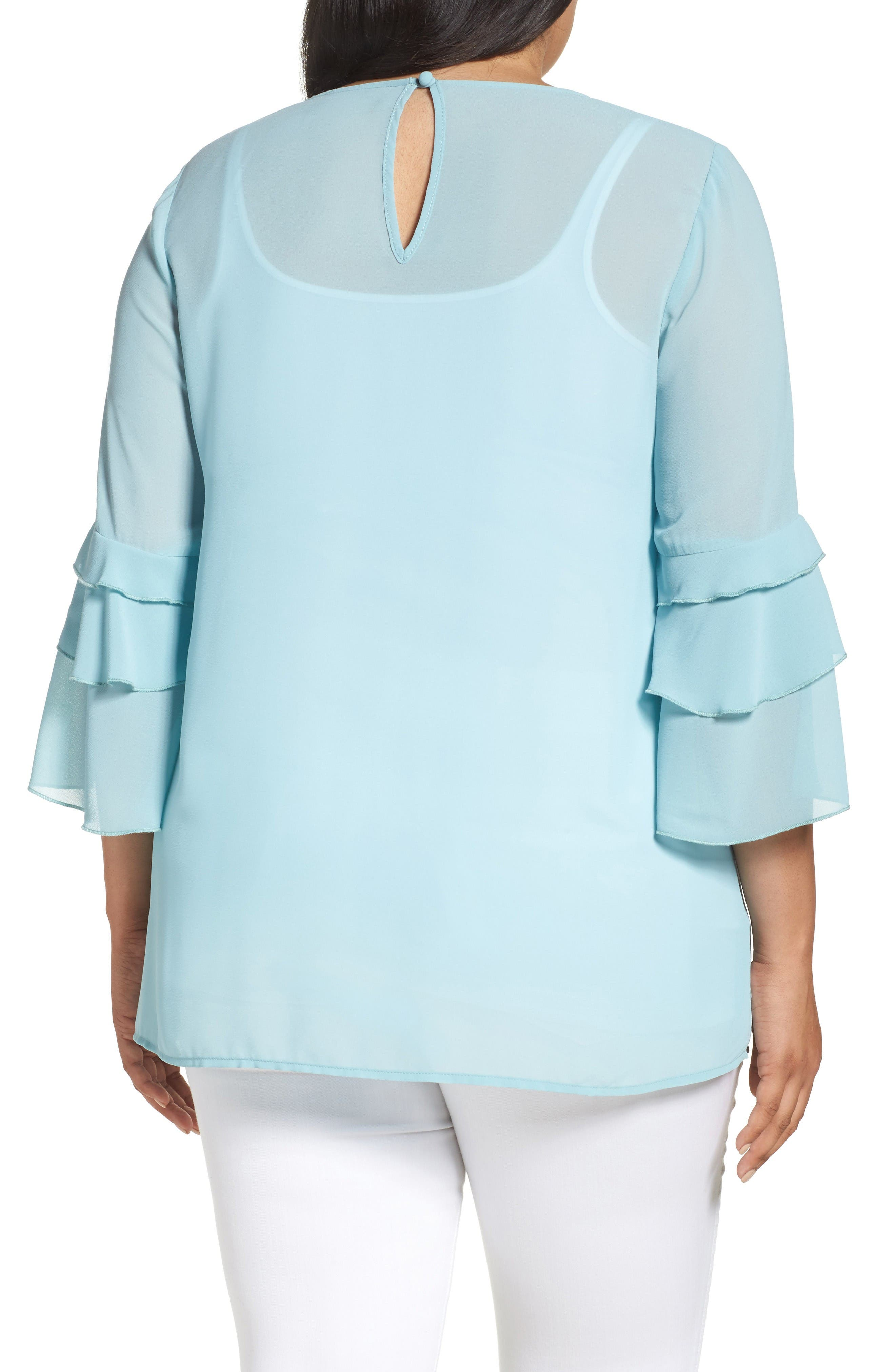 Ruffle Sleeve Blouse,                             Alternate thumbnail 2, color,                             Blue