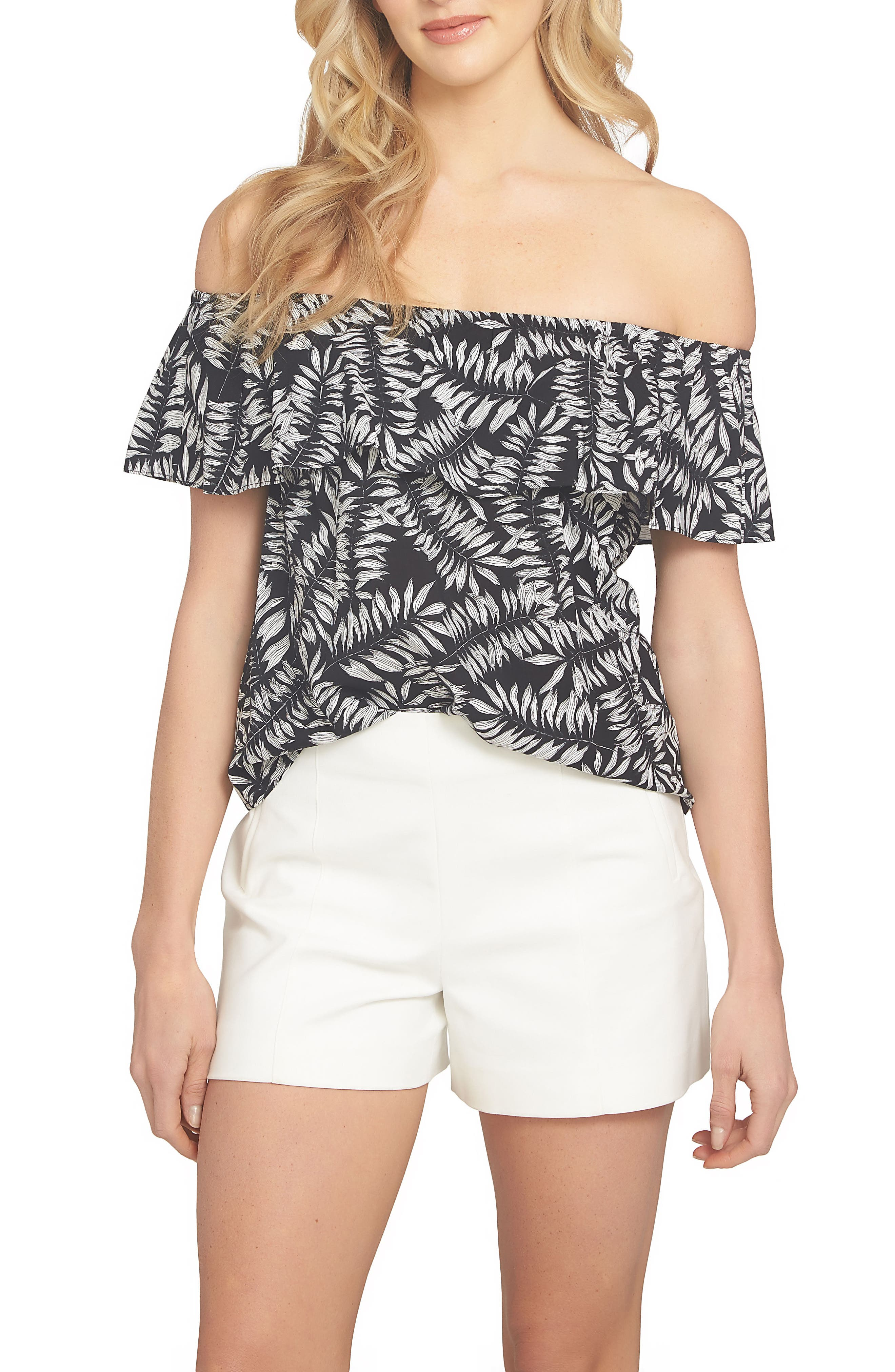 1.STATE Ruffle Off the Shoulder Blouse