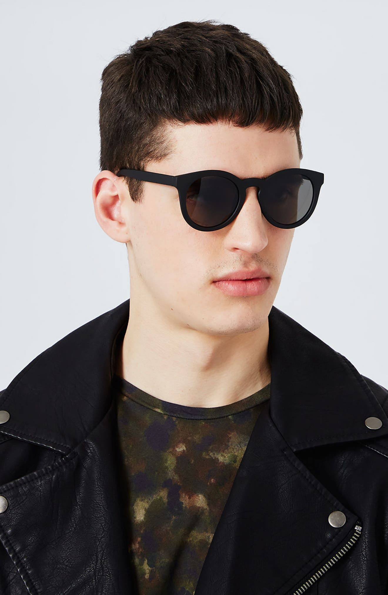 Alternate Image 2  - Topman 46mm Rubberized Round Sunglasses