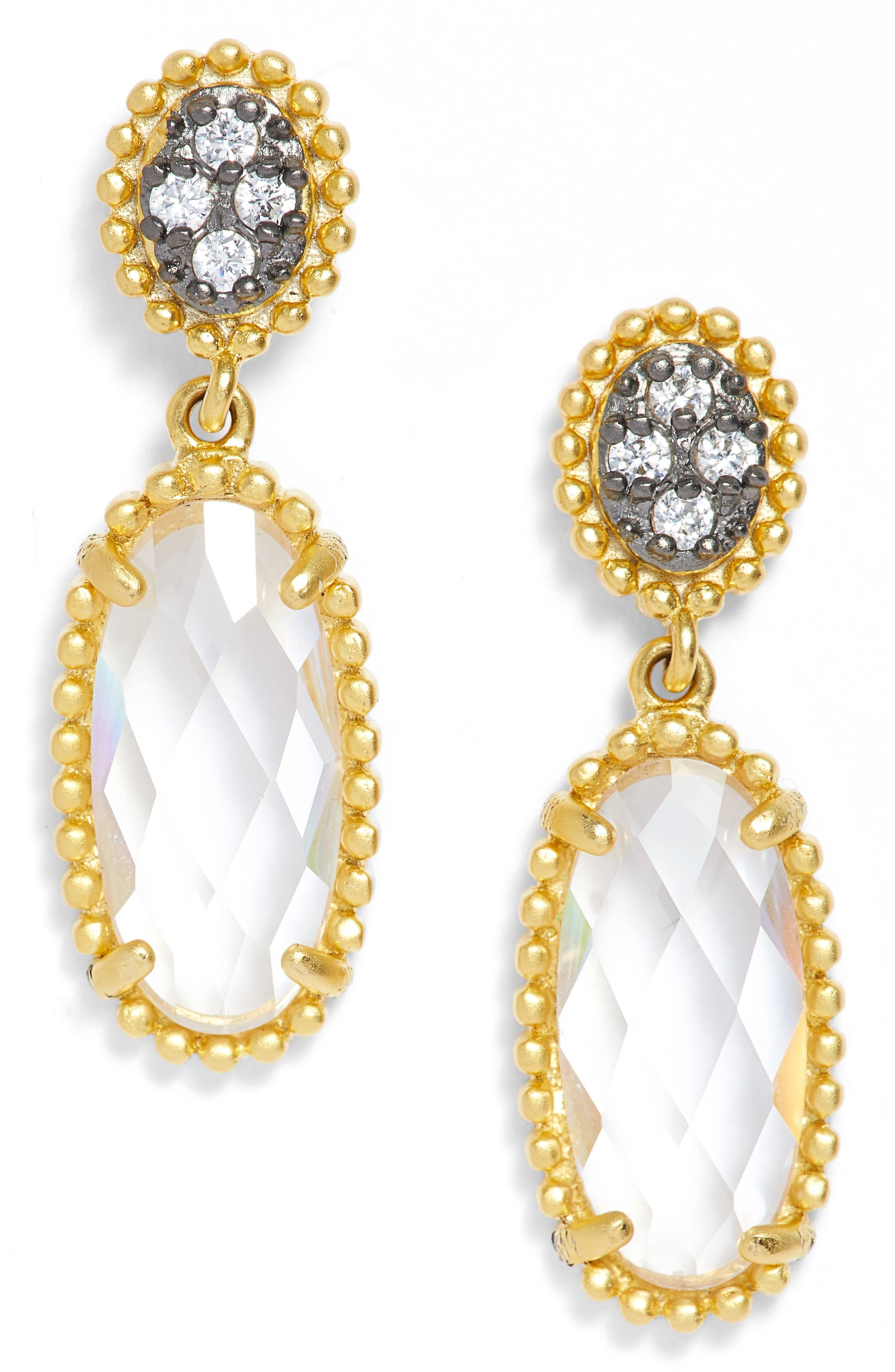 FRIEDA ROTHMAN Oval Drop Earrings,                             Main thumbnail 1, color,                             Gold/ Black Rhodium