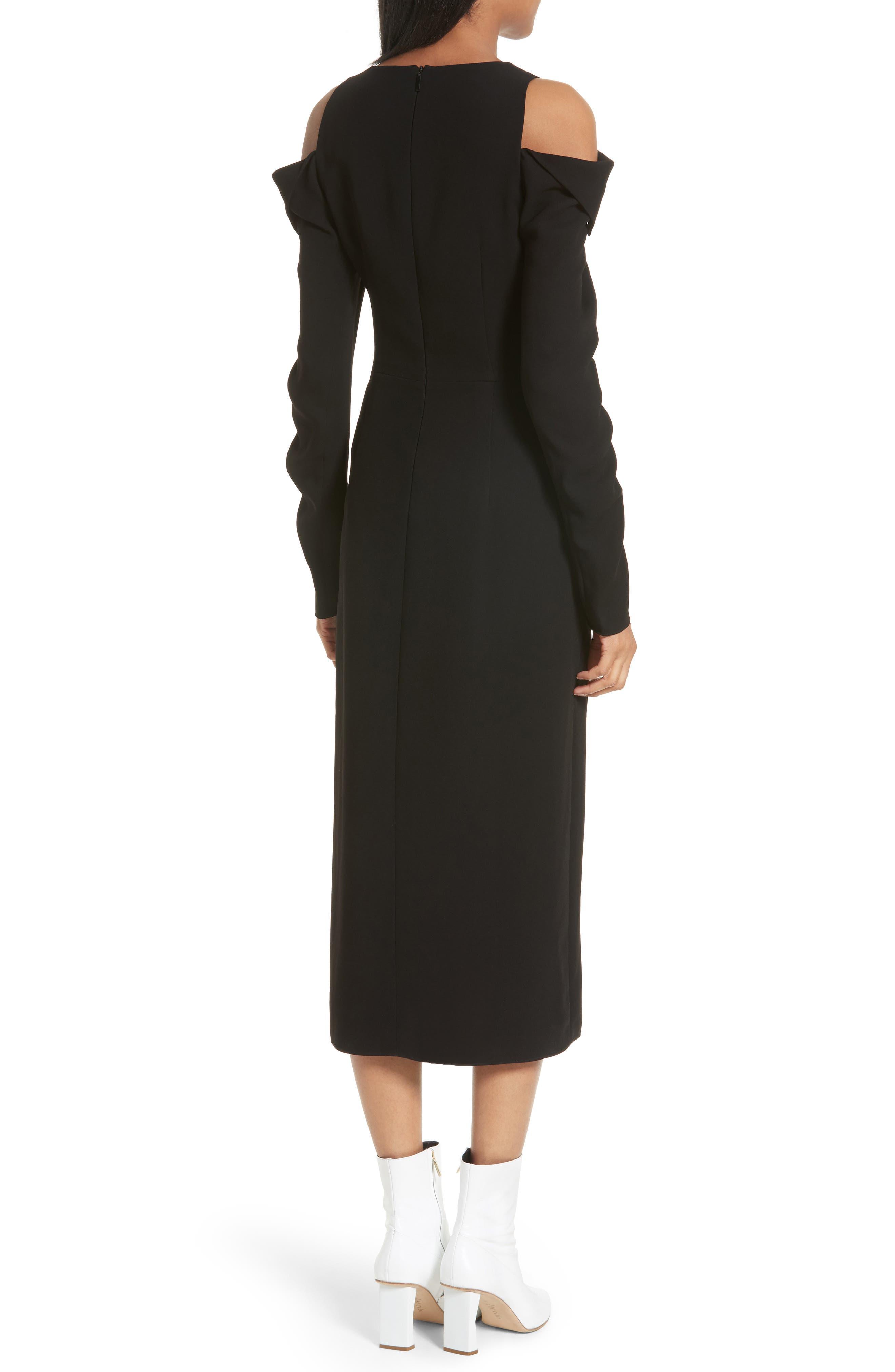 Cold Shoulder Midi Dress,                             Alternate thumbnail 2, color,                             Black