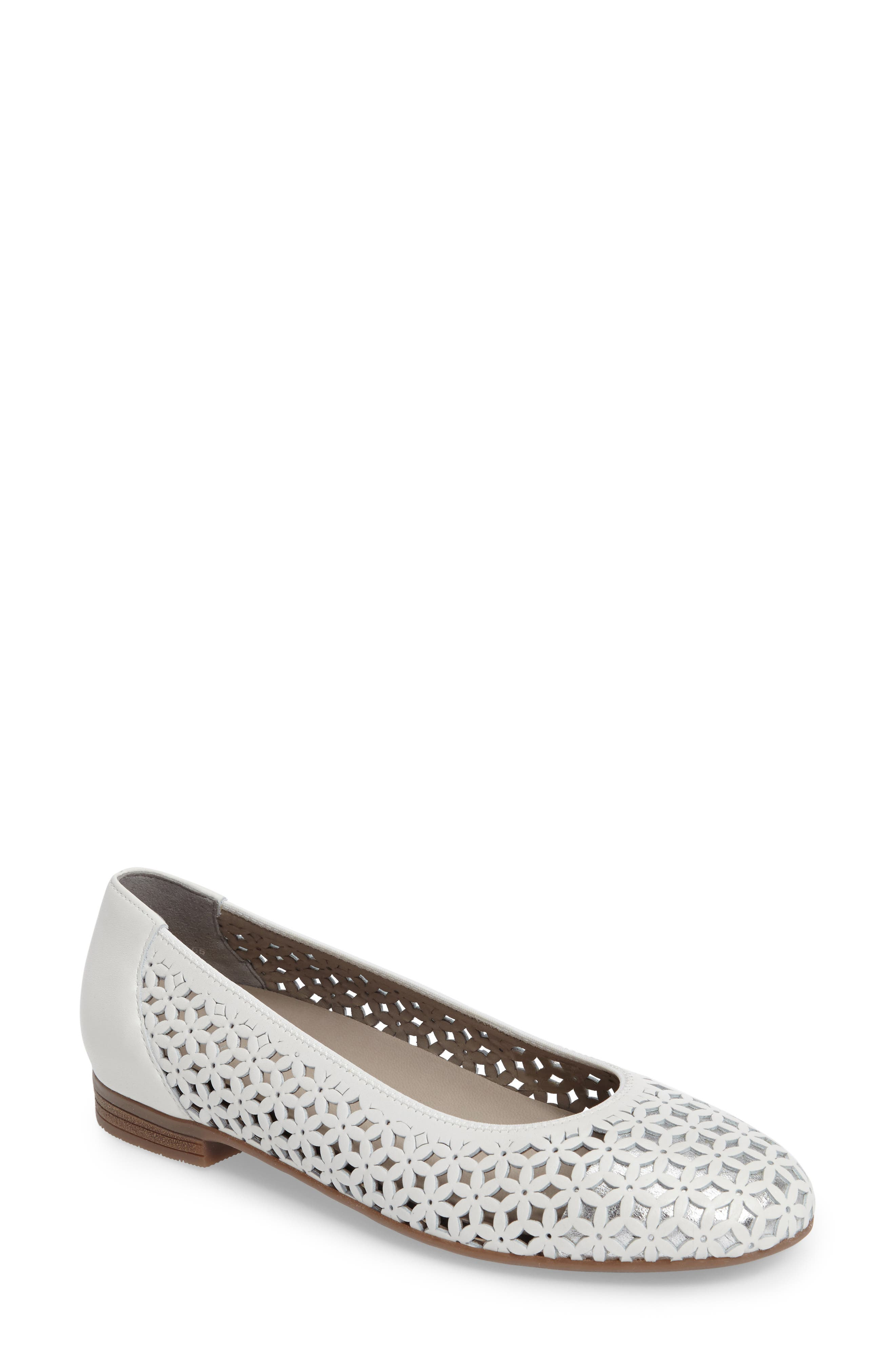 Stephanie Perforated Ballet Flat,                             Main thumbnail 1, color,                             White Leather