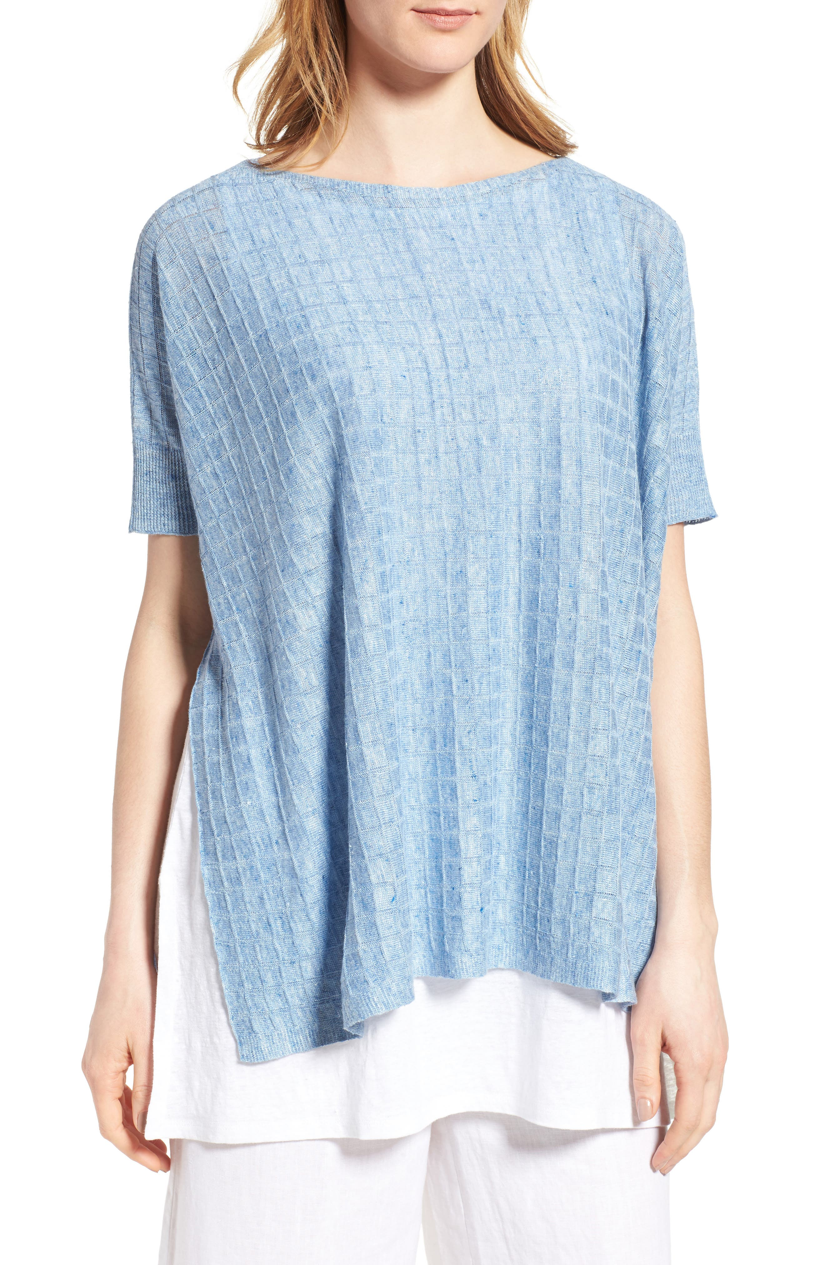 Alternate Image 1 Selected - Eileen Fisher Linen Side Slit Sweater (Regular & Petite)