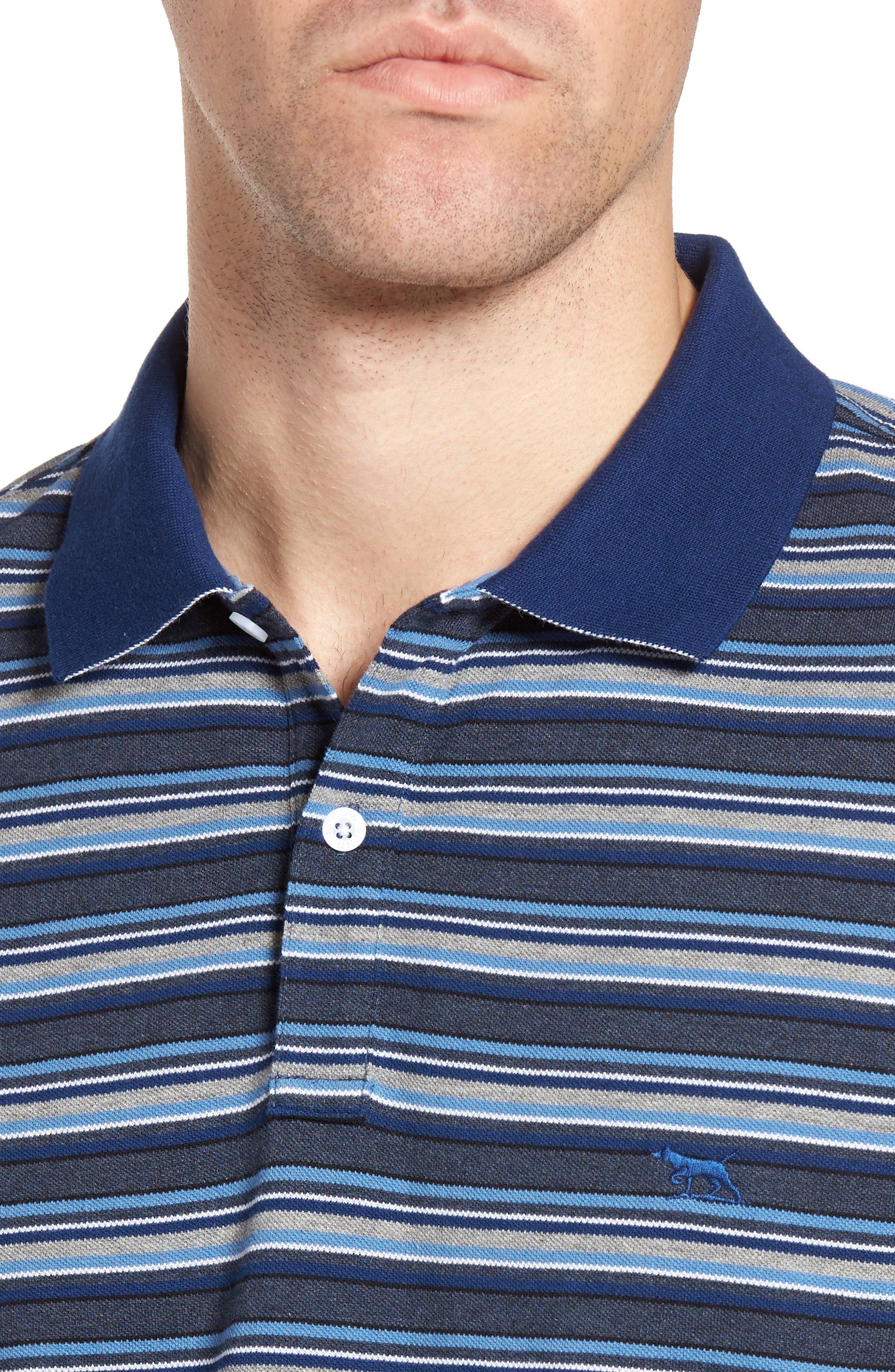 MacDonald Downs Sports Fit Stripe Piqué Polo,                             Alternate thumbnail 4, color,                             Denim