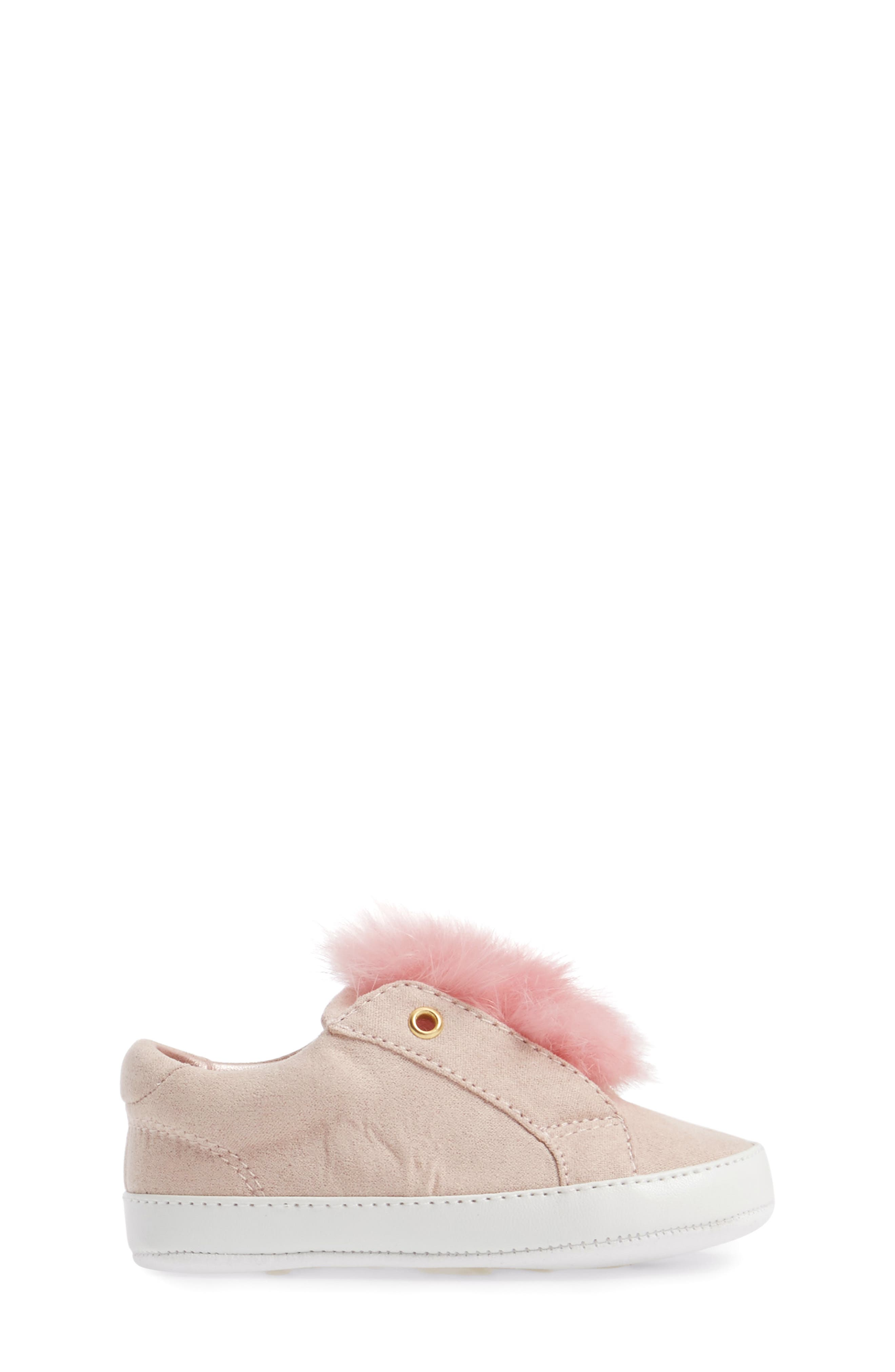 Leya Faux Fur Pompom Sneaker,                             Alternate thumbnail 3, color,                             Pink