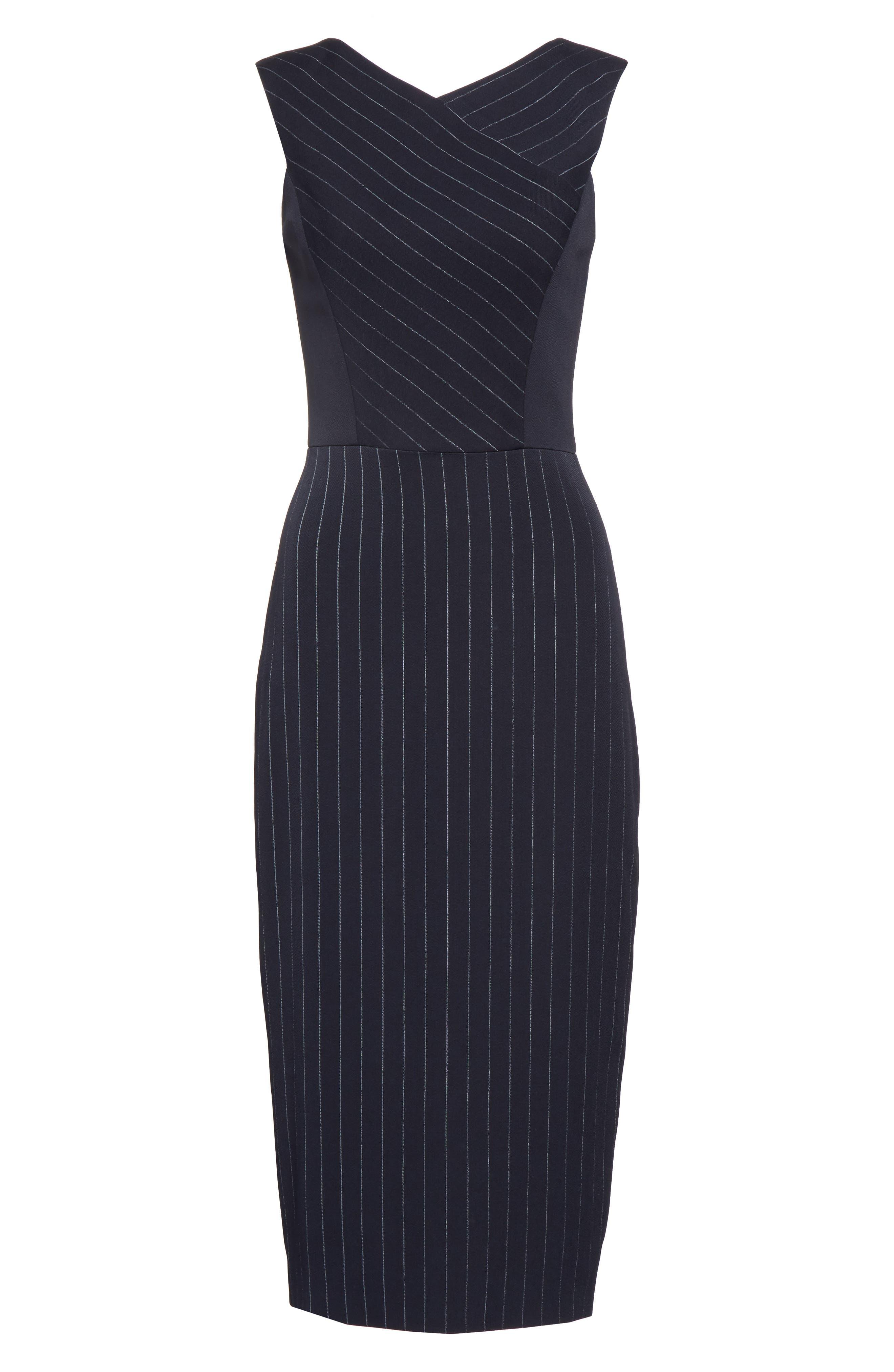 Pinstripe Stretch Dress,                             Alternate thumbnail 4, color,                             Black/ Chalk