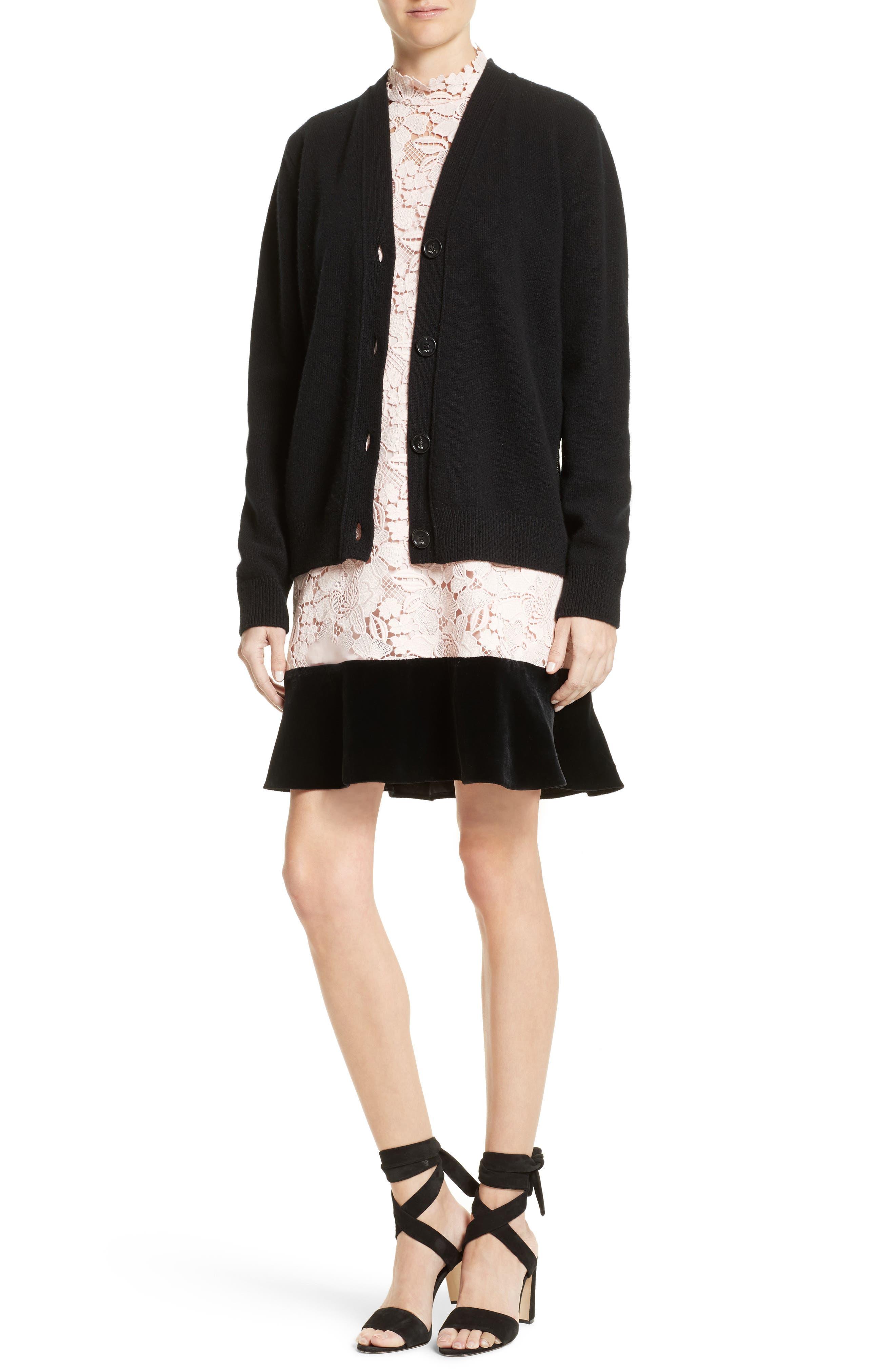 Alternate Image 2  - N°21 Lace Back Wool Blend Cardigan