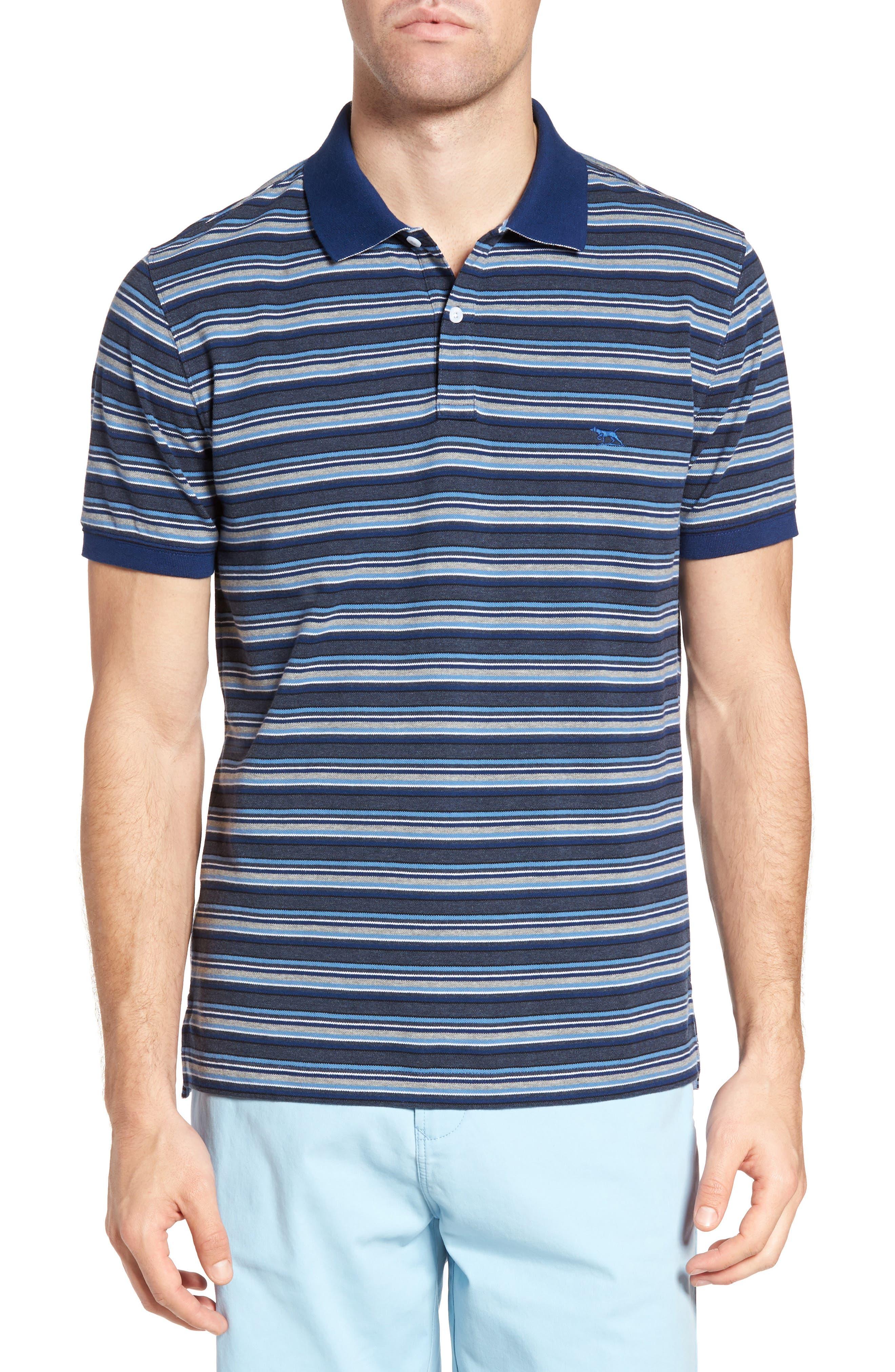 MacDonald Downs Sports Fit Stripe Piqué Polo,                         Main,                         color, Denim