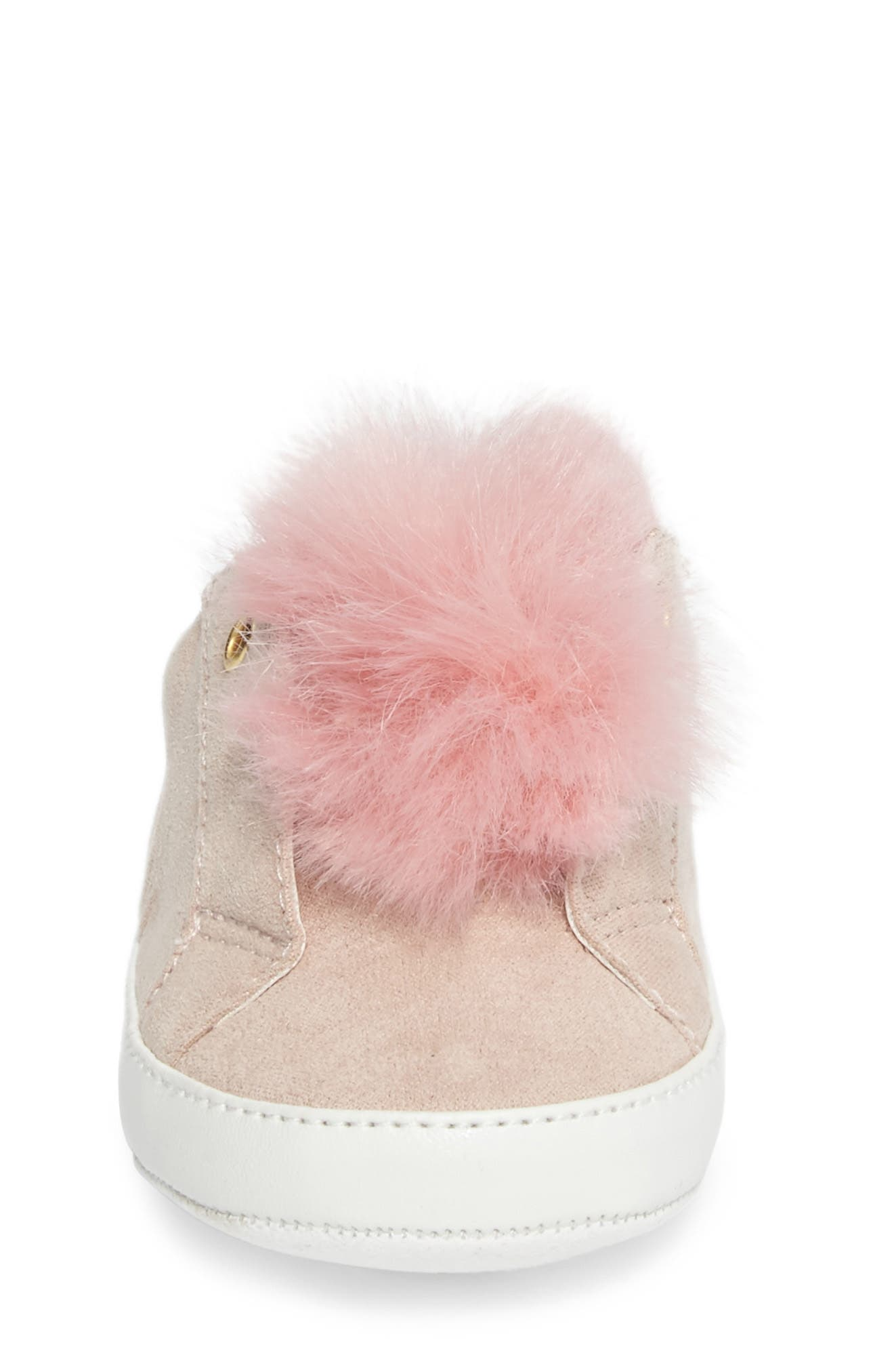 Leya Faux Fur Pompom Sneaker,                             Alternate thumbnail 4, color,                             Pink