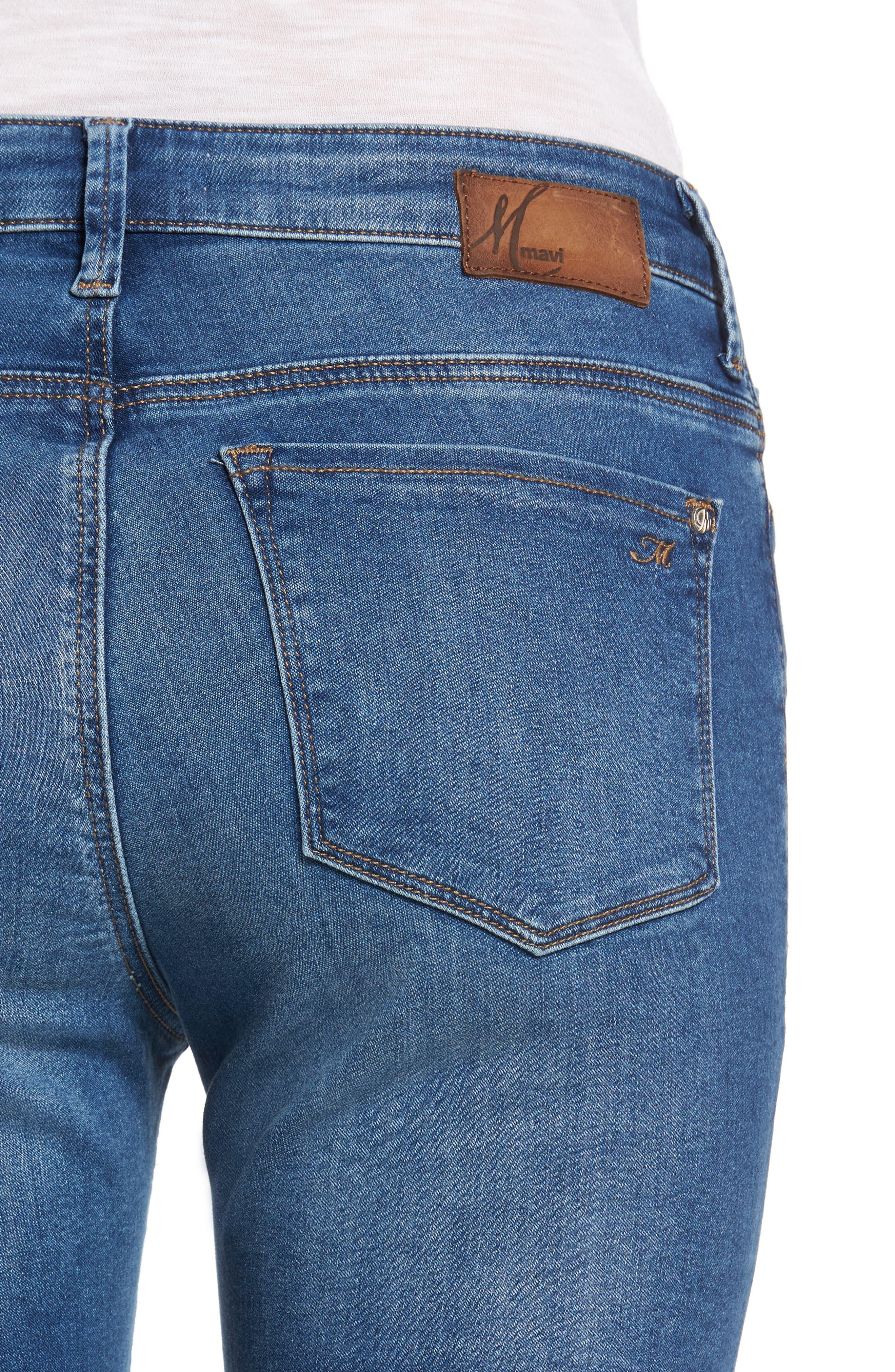 Alternate Image 4  - Mavi Jeans Kendra High Waist Stretch Denim Jeans (Mid Soft Shanti)
