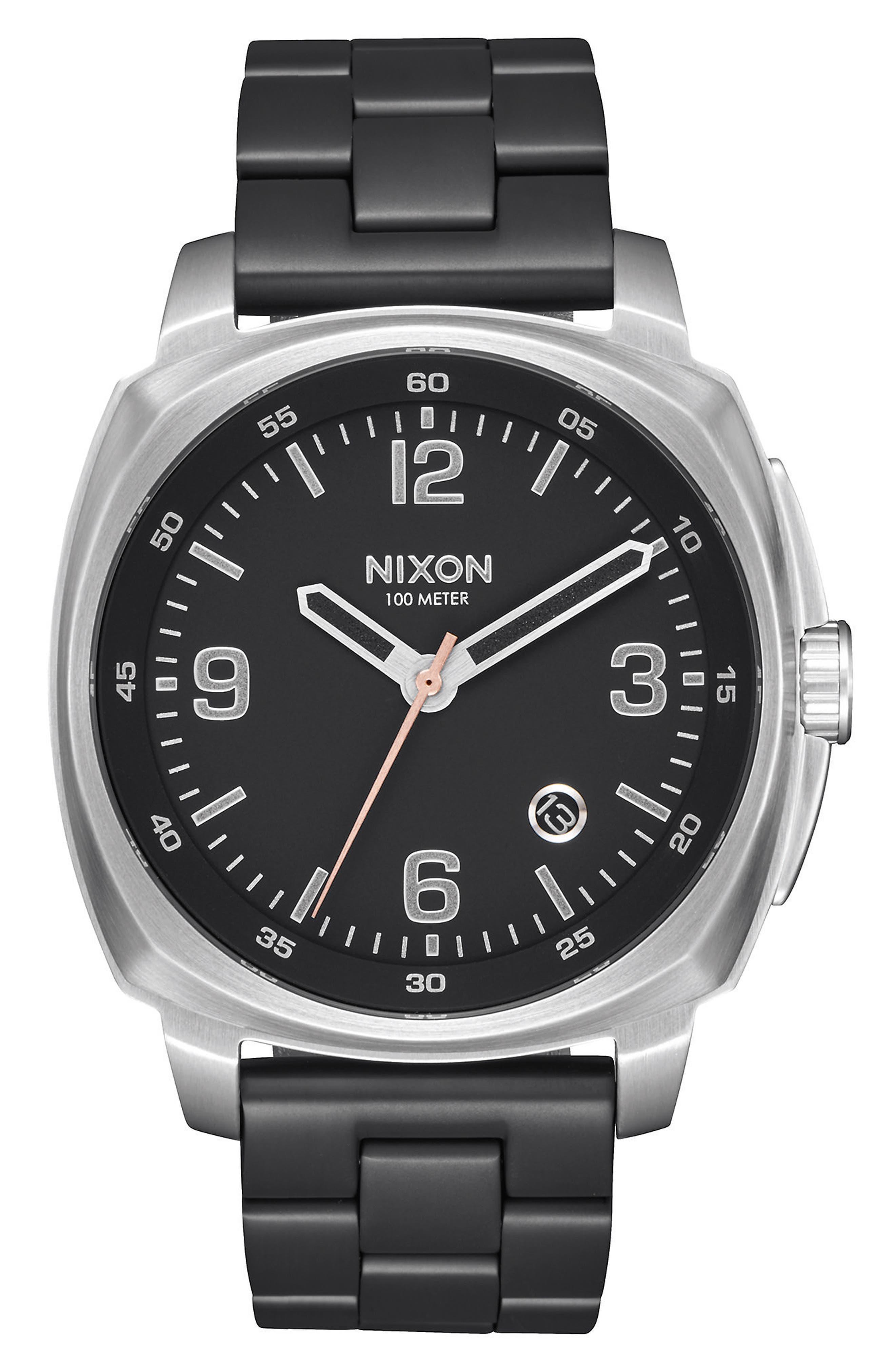 Charger Bracelet Watch, 42mm,                         Main,                         color, Black/Silver