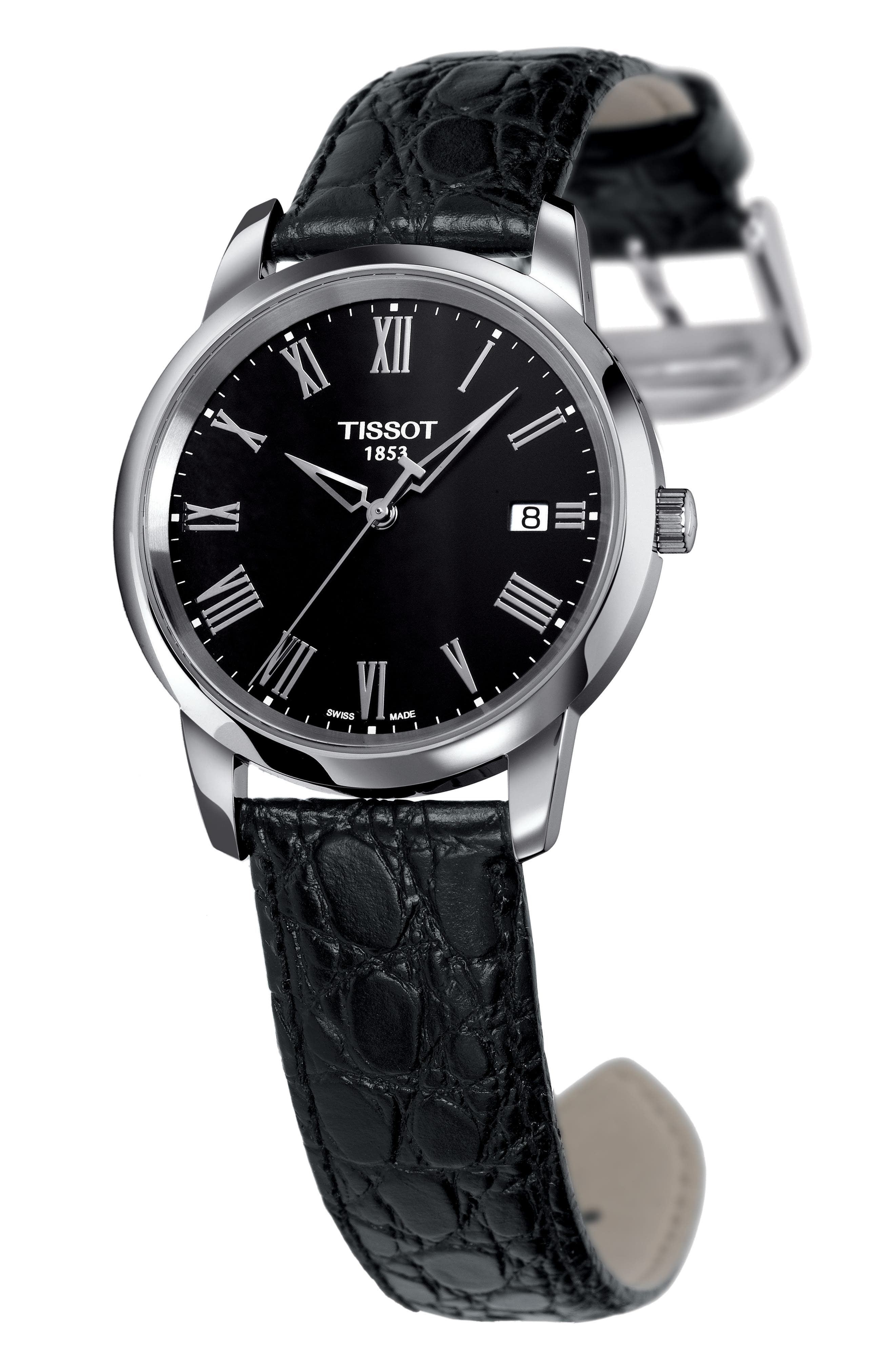 Classic Dream Leather Strap Watch, 38mm,                             Alternate thumbnail 2, color,                             Black/ Silver