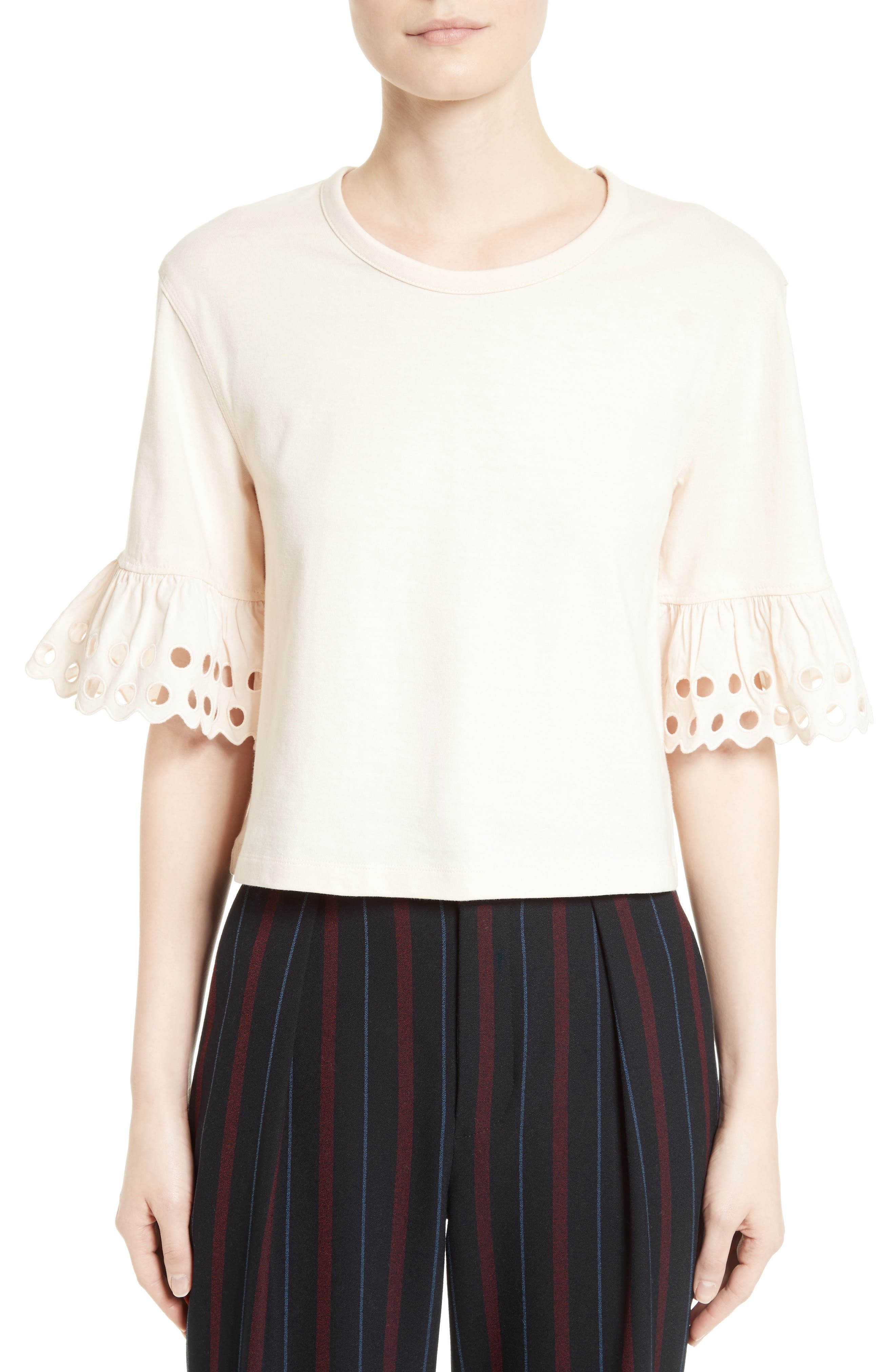 Alternate Image 1 Selected - See by Chloé Ruffle Sleeve Boxy Tee