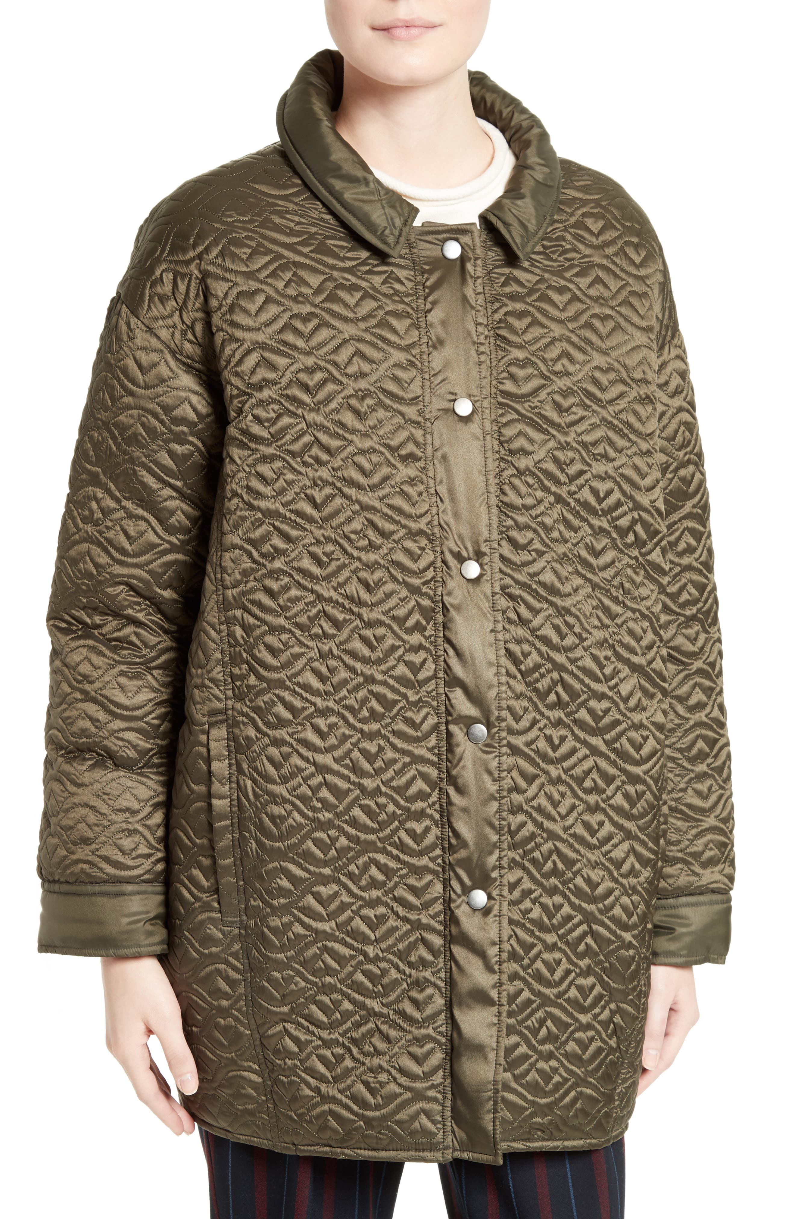Quilted Coat,                             Alternate thumbnail 4, color,                             Army Green