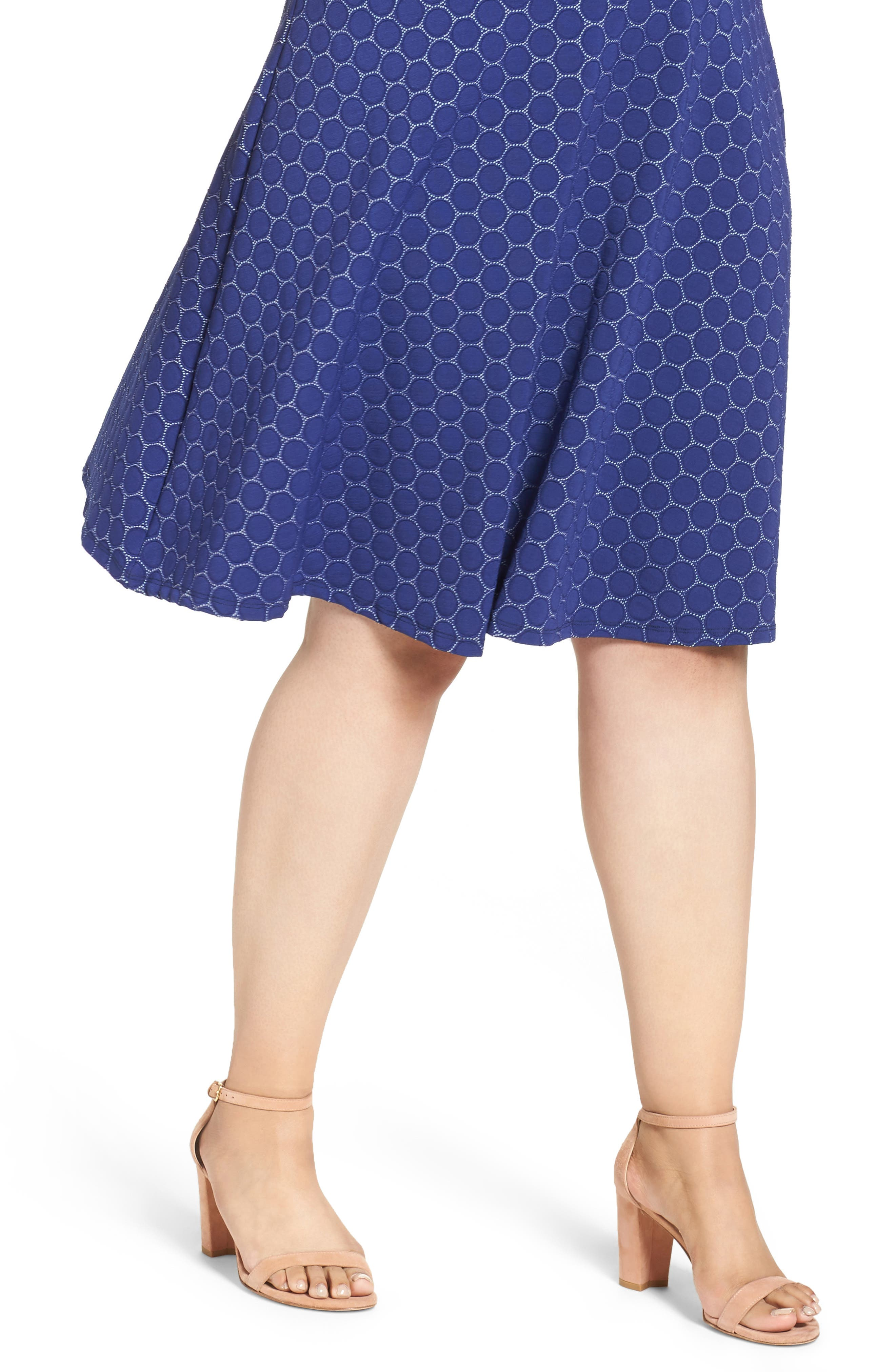 Fit & Flare Dress,                             Alternate thumbnail 4, color,                             Navy Cameo