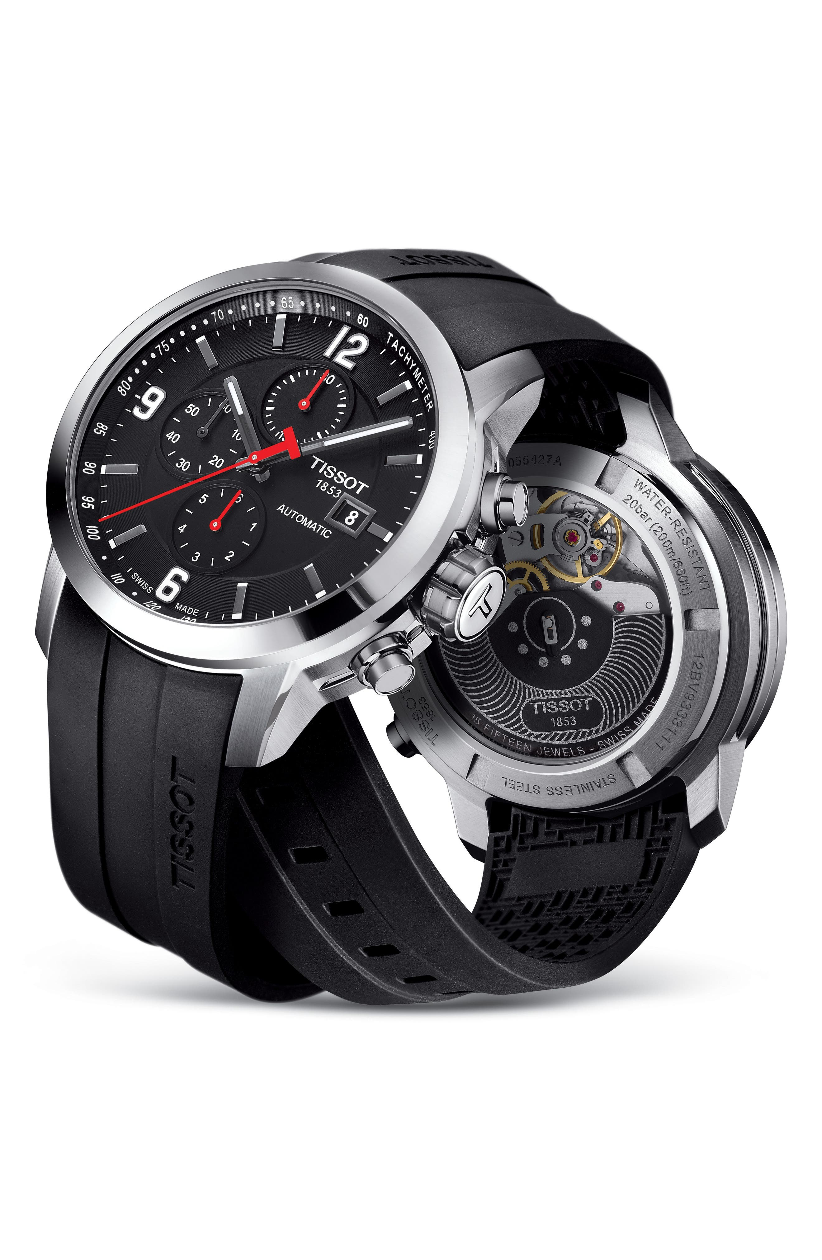 PRC200 Automatic Chronograph Silicone Strap Watch, 43mm,                             Alternate thumbnail 5, color,                             Black/ Silver