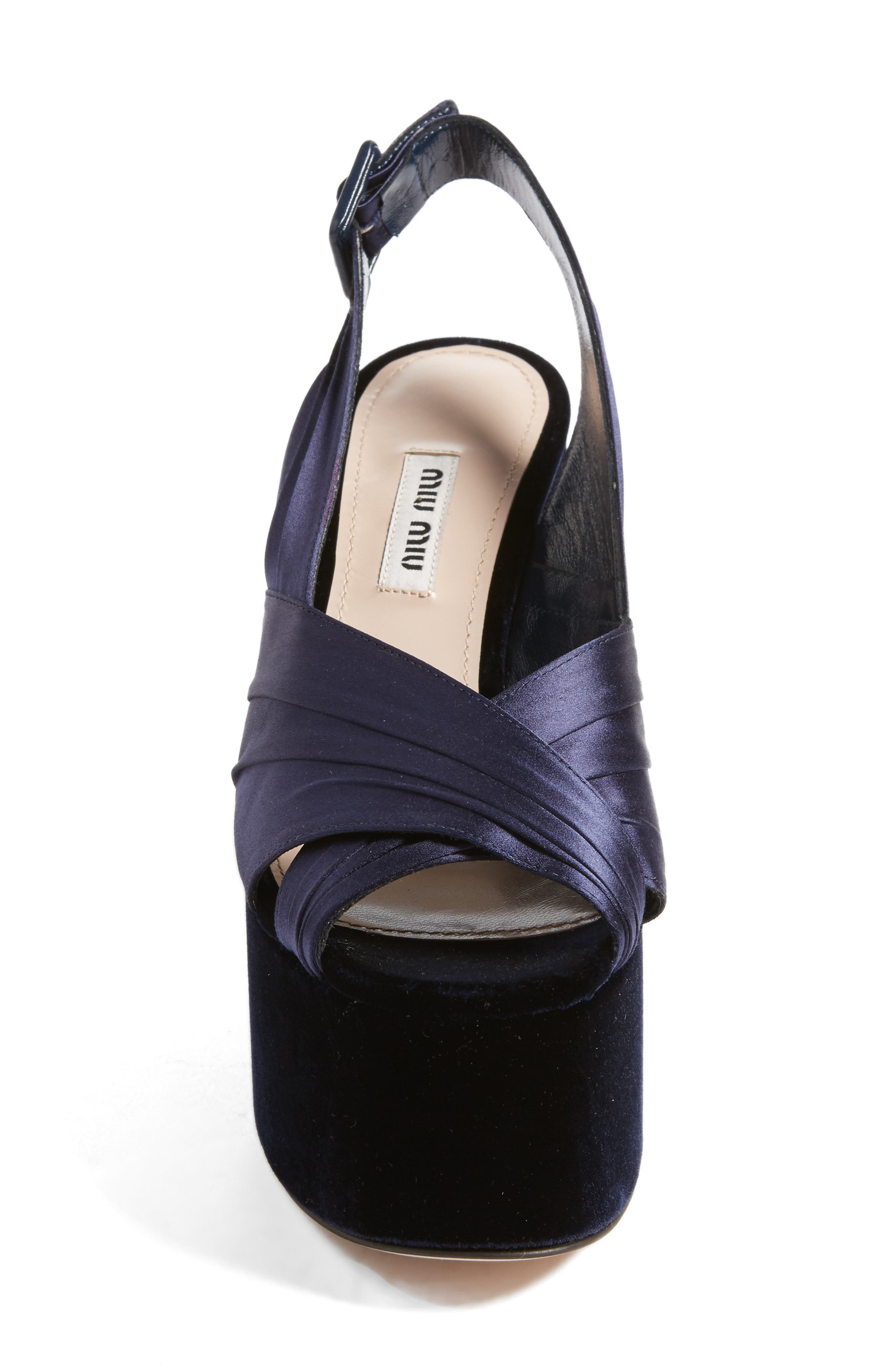 Slingback Platform Sandal,                             Alternate thumbnail 4, color,                             Dark Blue