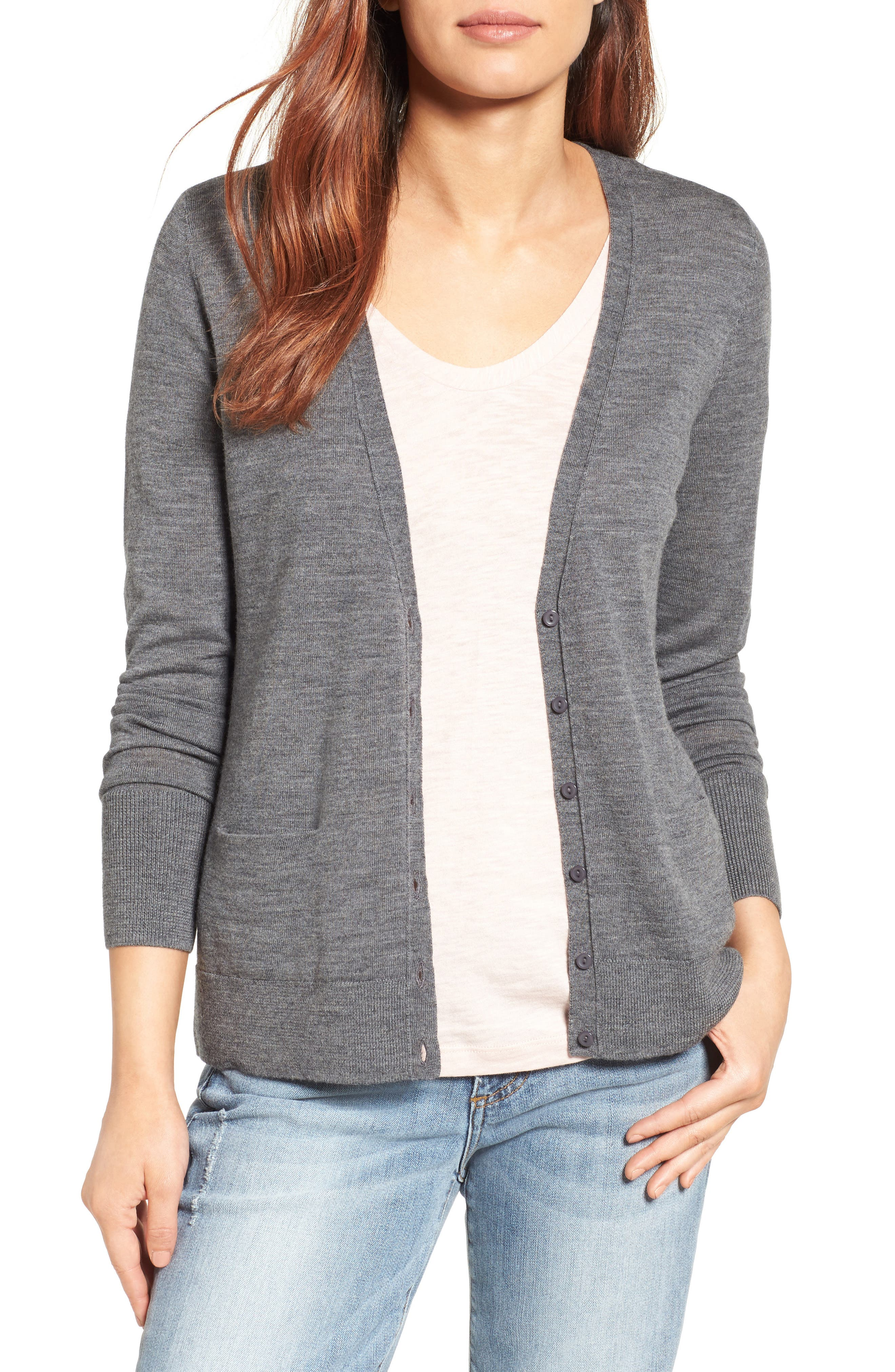 Alternate Image 1 Selected - Halogen® V-Neck Merino Wool Cardigan (Regular & Petite)