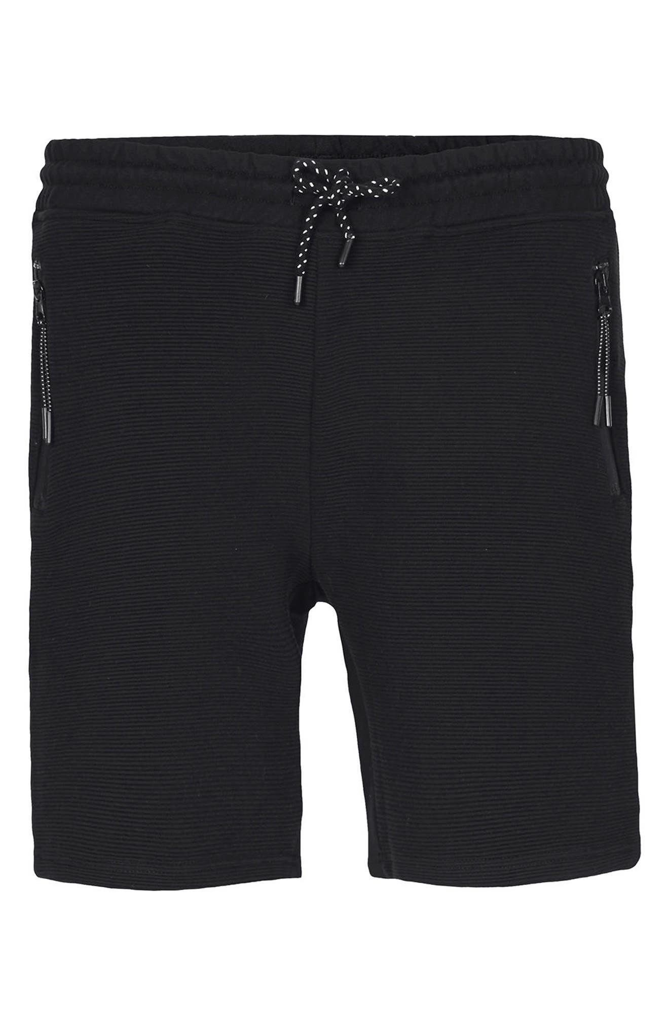Textured Jersey Shorts,                             Alternate thumbnail 5, color,                             Black