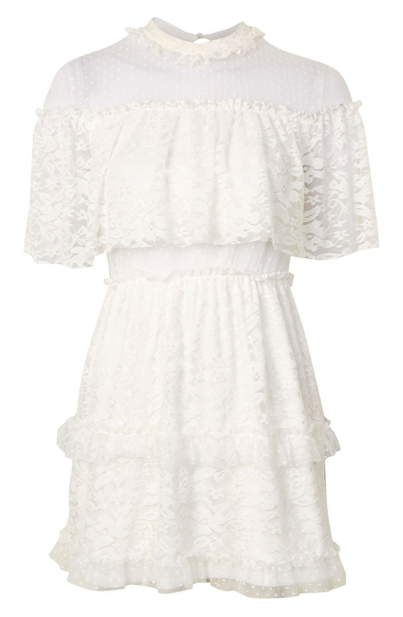 Alternate Image 4  - Topshop Lace Cape Skater Dress