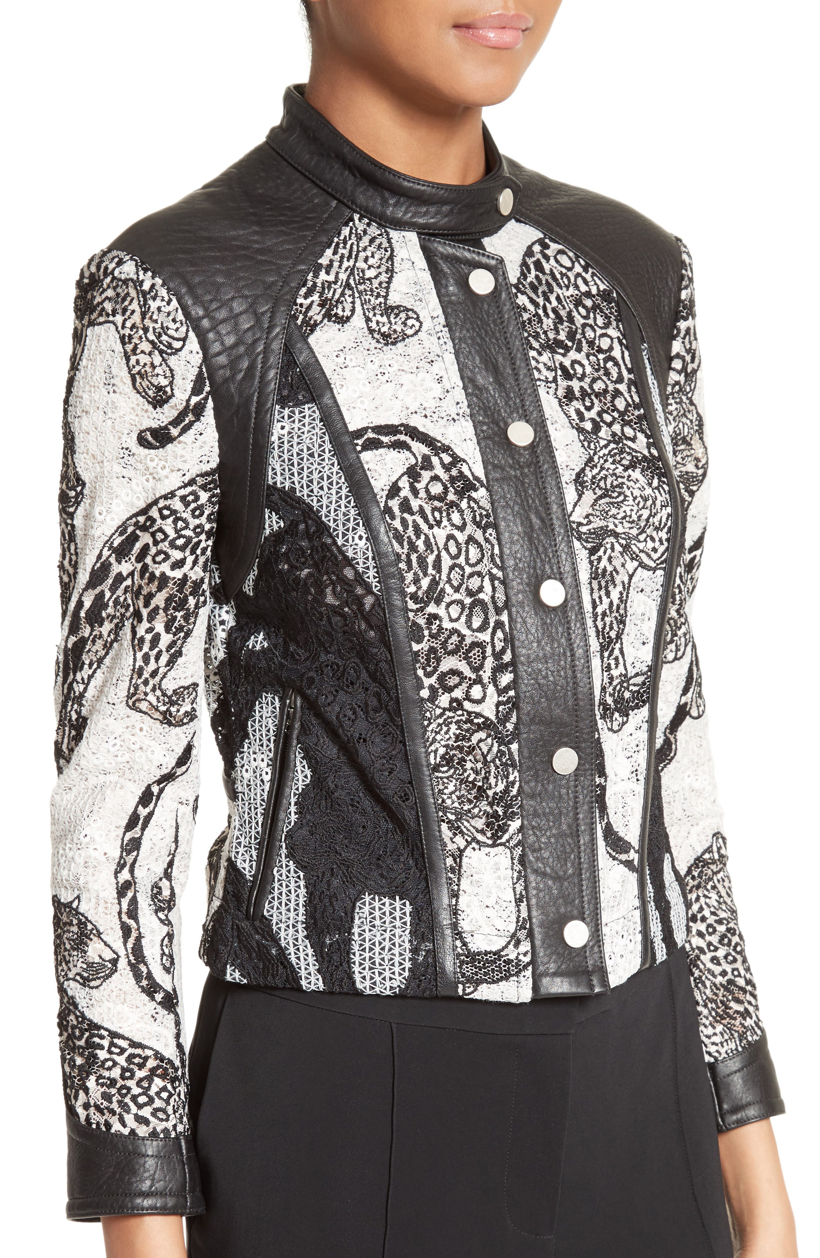 Alternate Image 6  - Yigal Azrouël Lace & Leather Moto Jacket