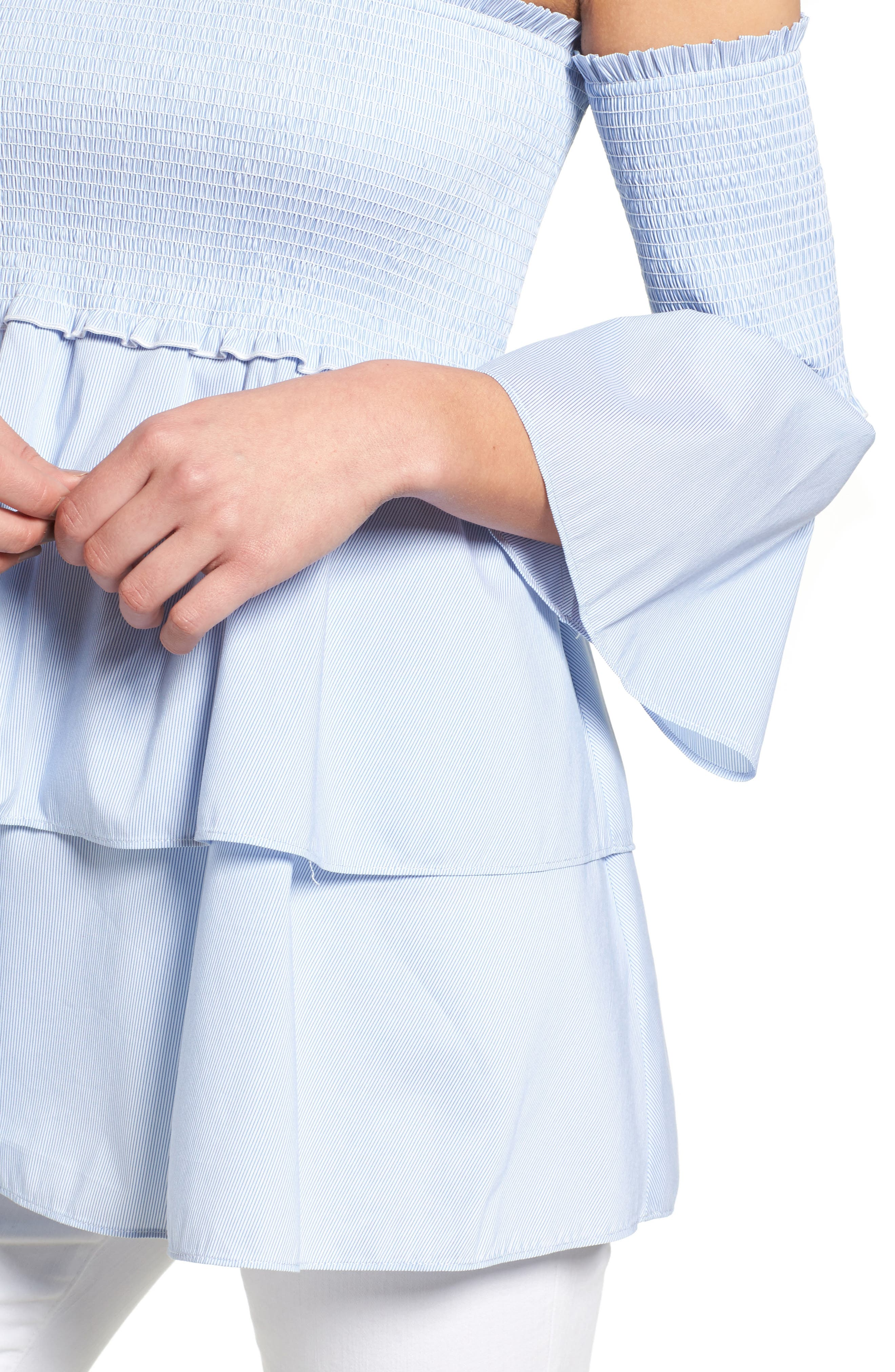 Alternate Image 4  - Chelsea28 Smocked Off the Shoulder Poplin Top