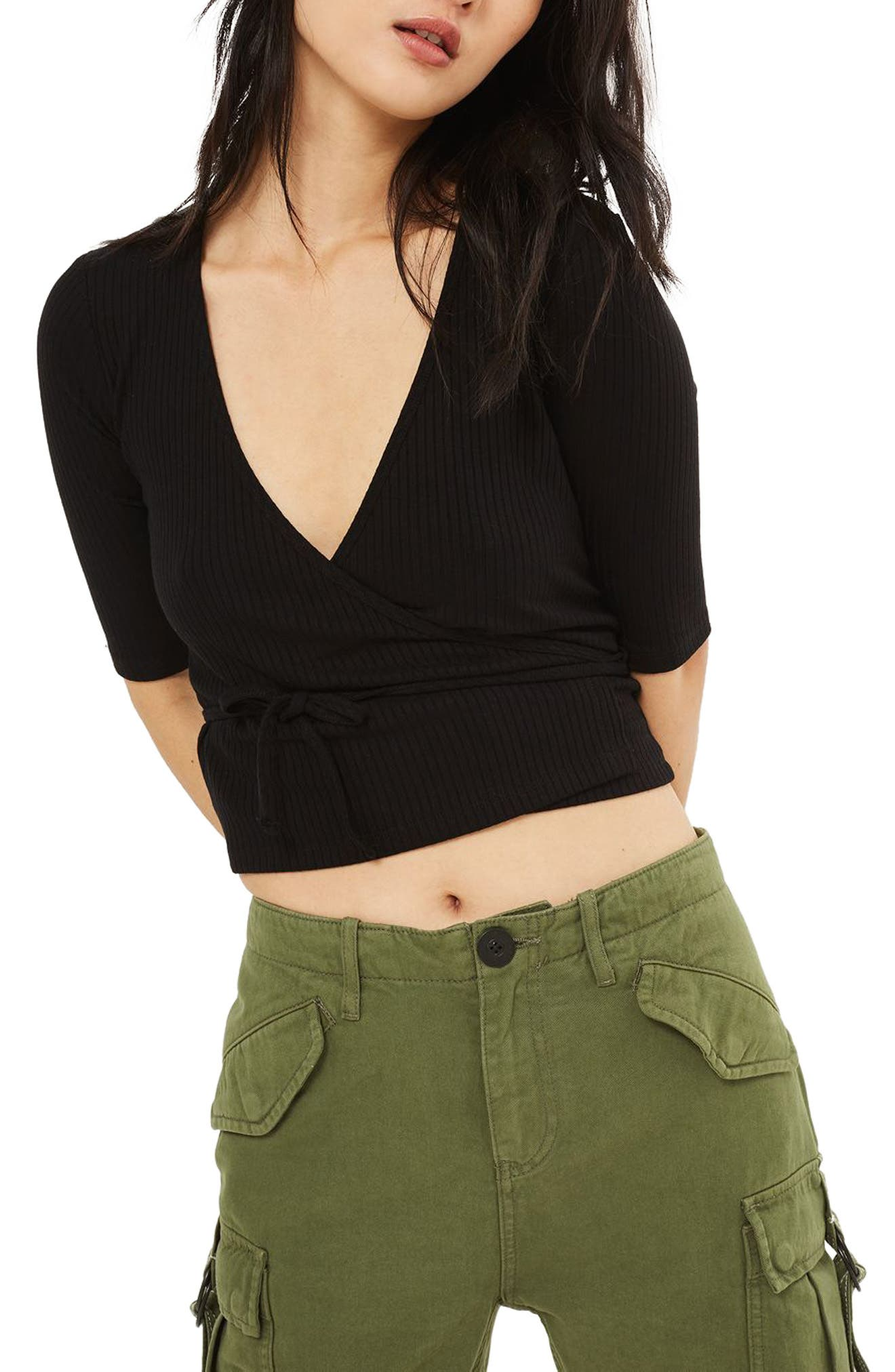 Alternate Image 1 Selected - Topshop Crop Wrap Top