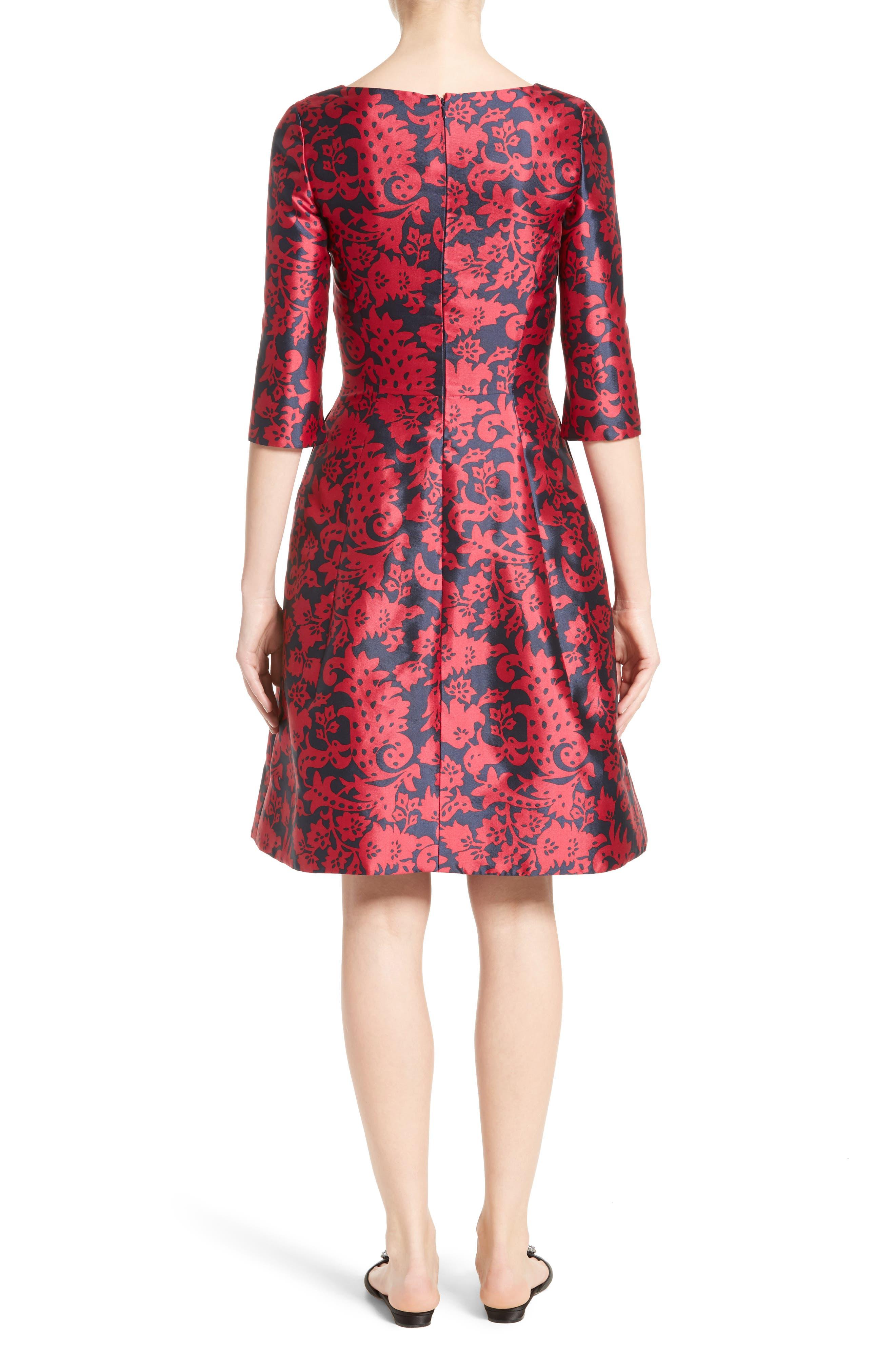 Print Mikado Fit & Flare Dress,                             Alternate thumbnail 2, color,                             Navy/ Garnet