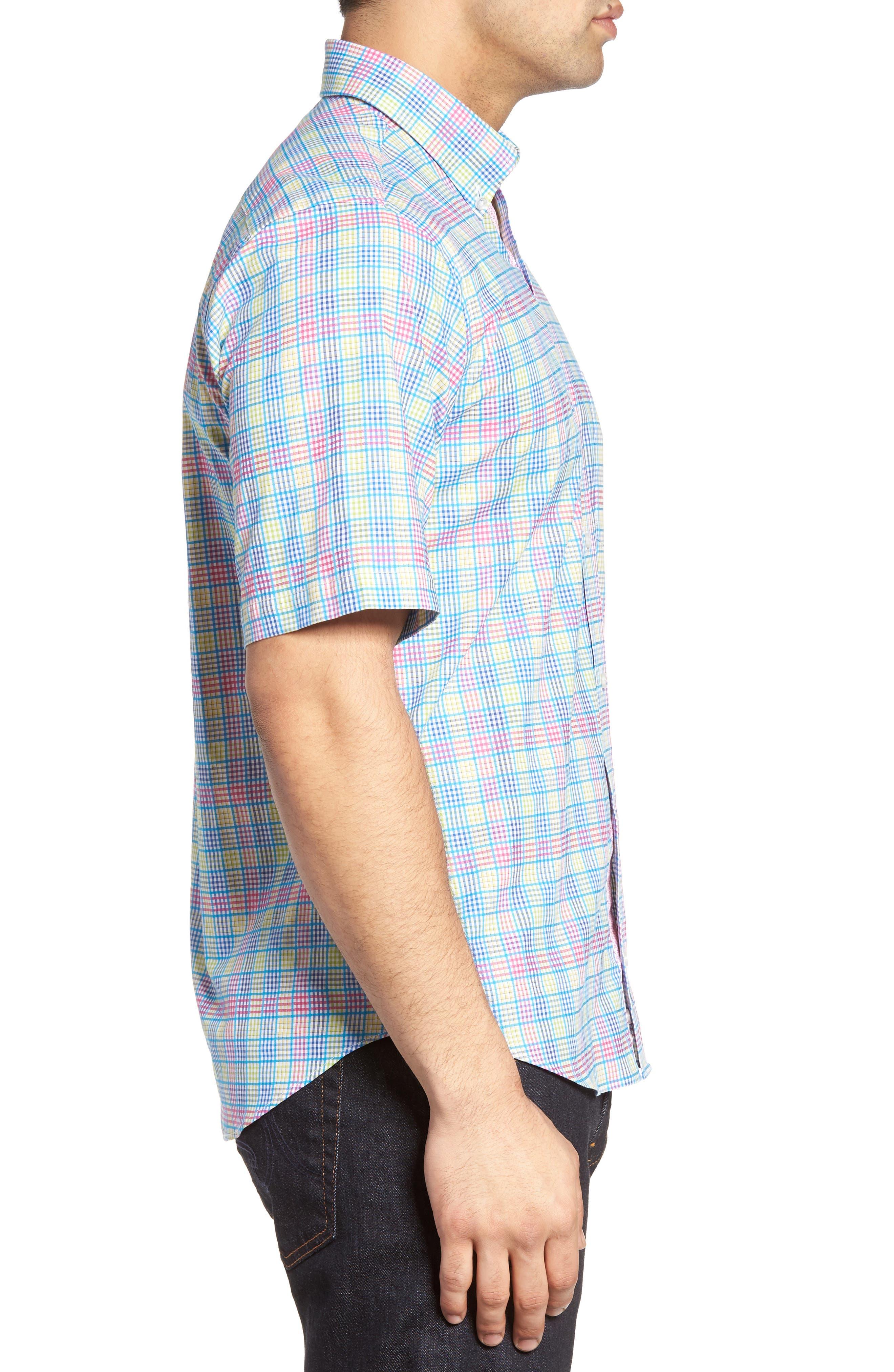 Lemon Plaid Sport Shirt,                             Alternate thumbnail 3, color,                             Blue/ Lime