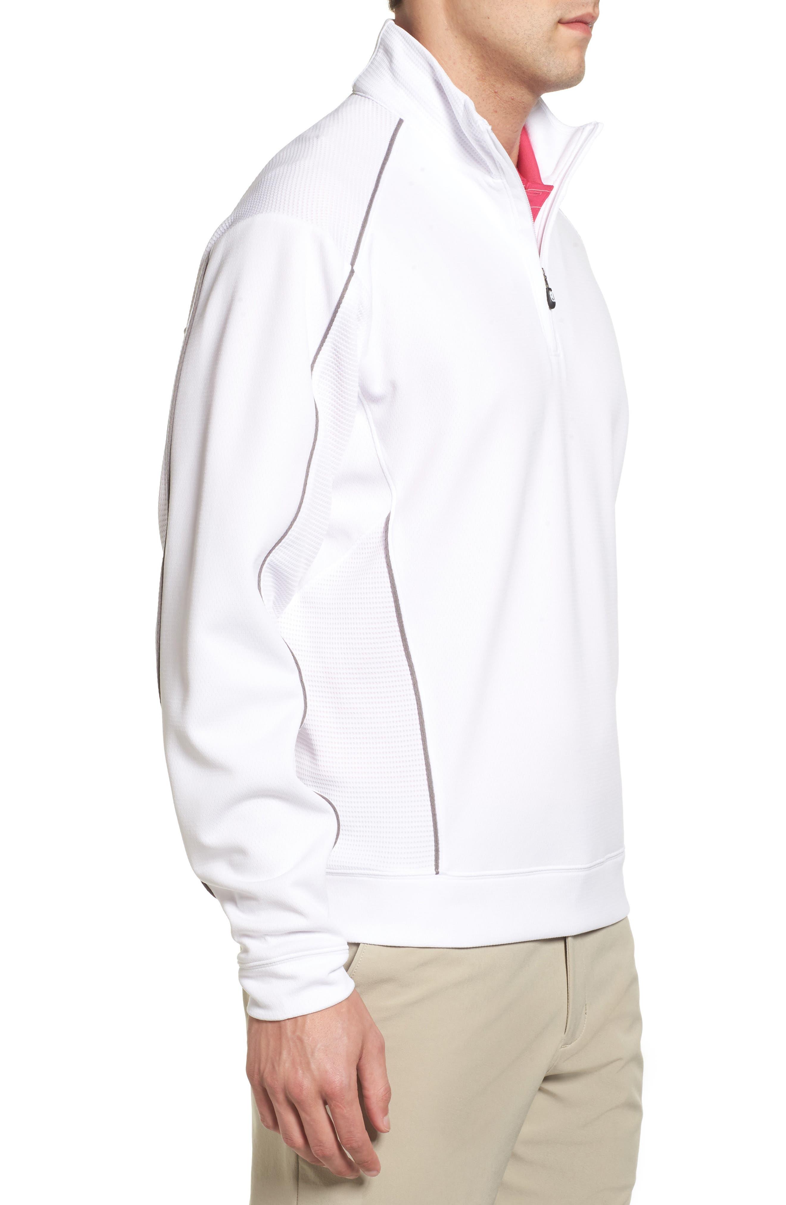 'DryTec<sup>®</sup> Edge' Half Zip Mesh Pullover,                             Alternate thumbnail 3, color,                             White